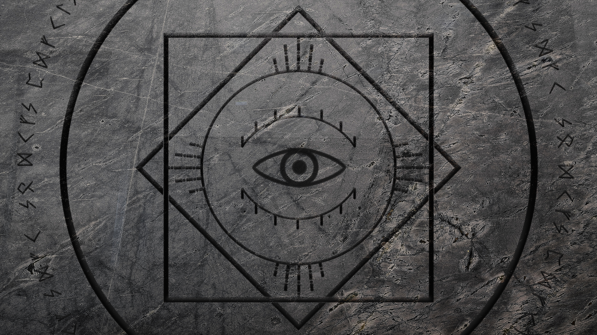 General 1920x1080 Illuminati runes viking circle square eyeball line art stone dark gray texture textured