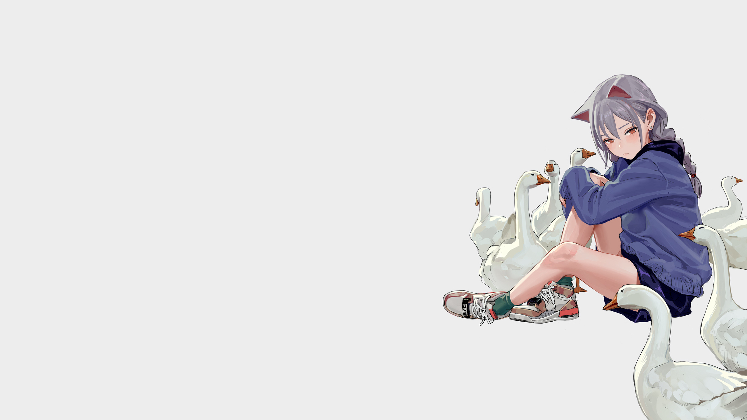 Anime 2451x1379 geese nekomimi anime girls anime animals birds sitting white background simple background