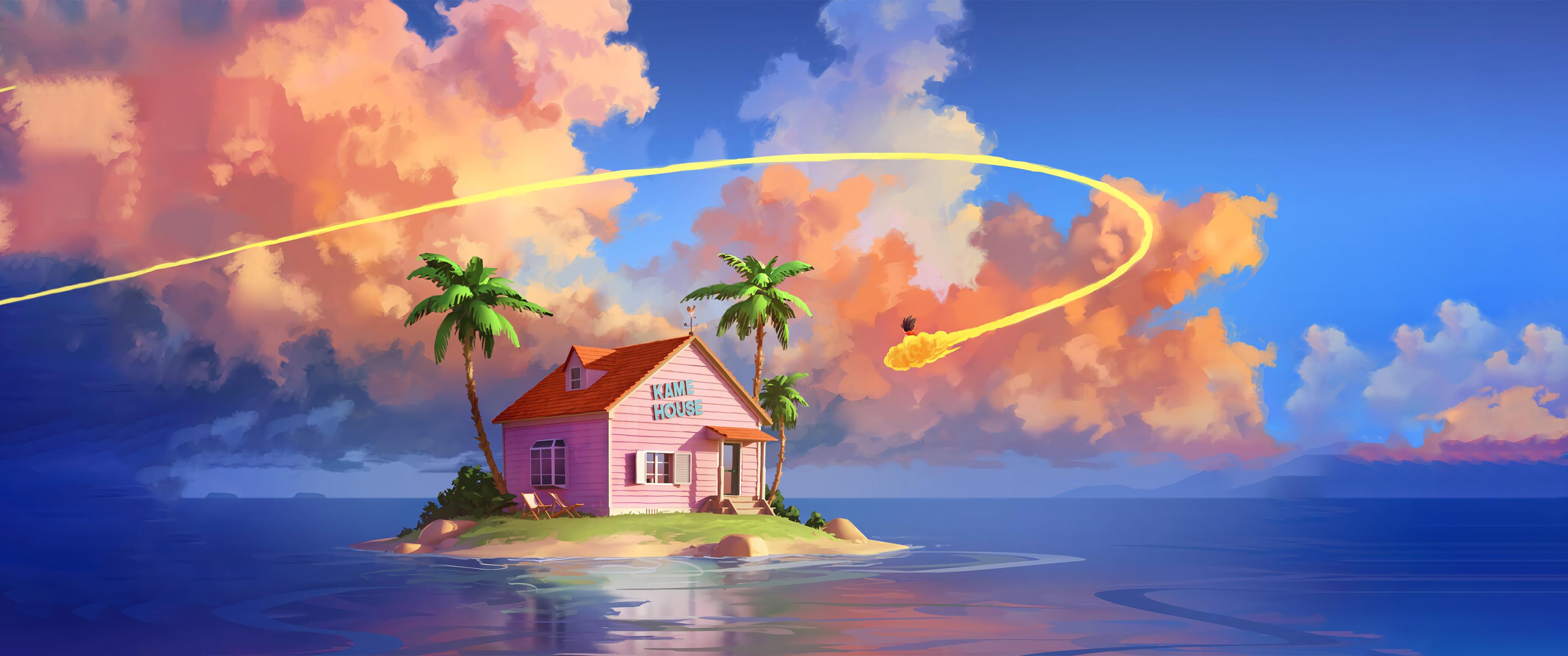 Anime 3440x1440 digital art Son Goku Dragon Ball Dragon Ball Z island ultrawide ultra-wide Sylvain Sarrailh