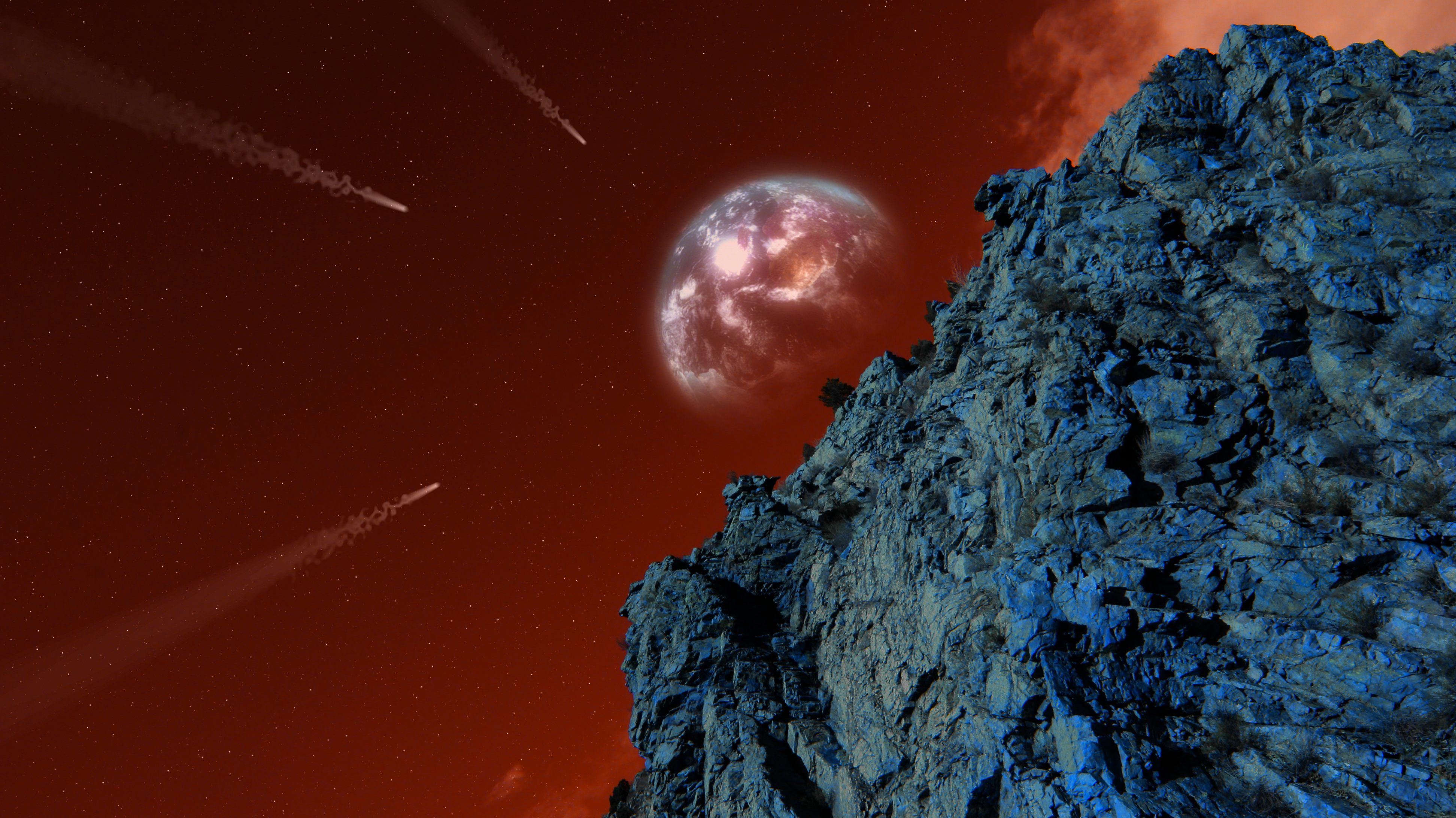 General 3888x2184 space universe Earth Moon space travel graphic design digital art fantasy art stars nature rocks Rock wall red blue flying space shuttle trees dreamscape galaxy mountains