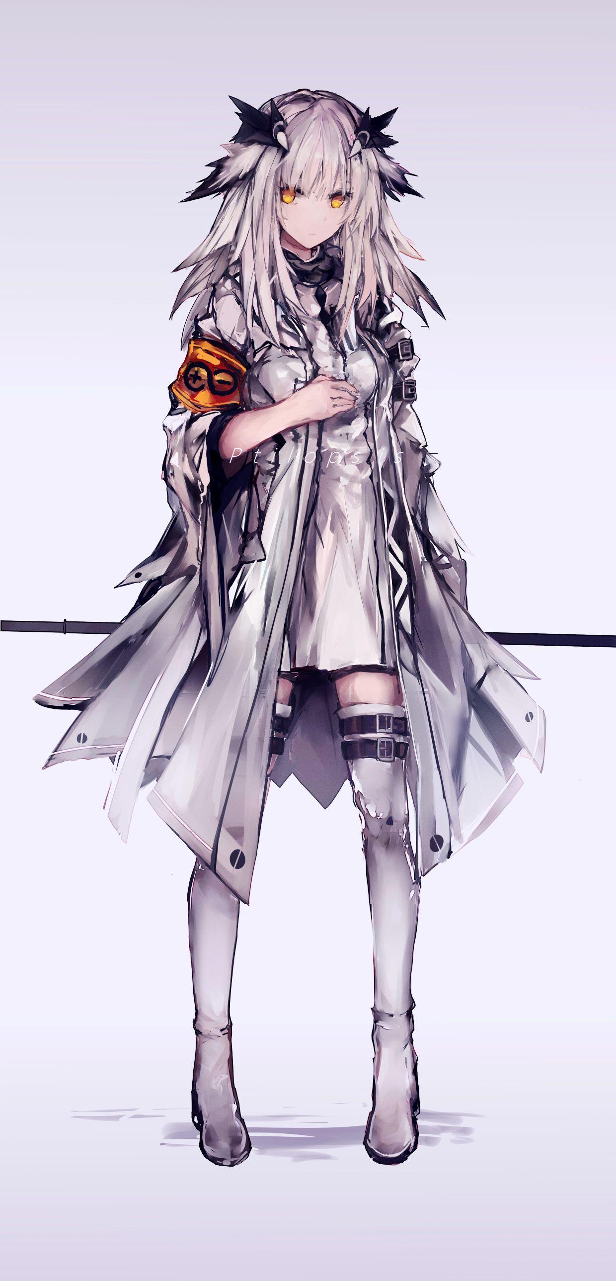 Anime 1240x2577 anime anime girls digital art artwork portrait display vertical white hair yellow eyes Arknights Ptilopsis(Arknights)