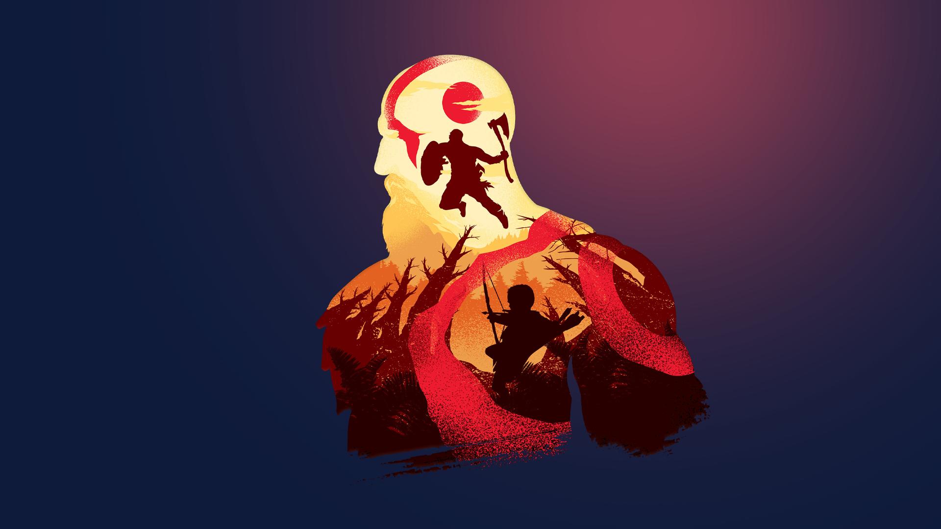 General 1920x1080 God of War minimalism video games Kratos simple simple background