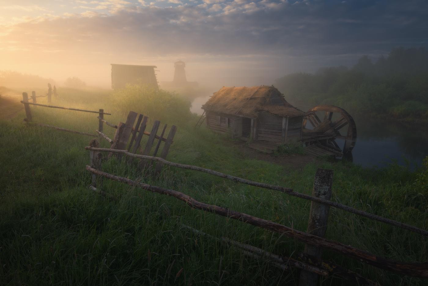 General 1400x935 Ilya Melikhov landscape mist clouds hut fence grass water tower river