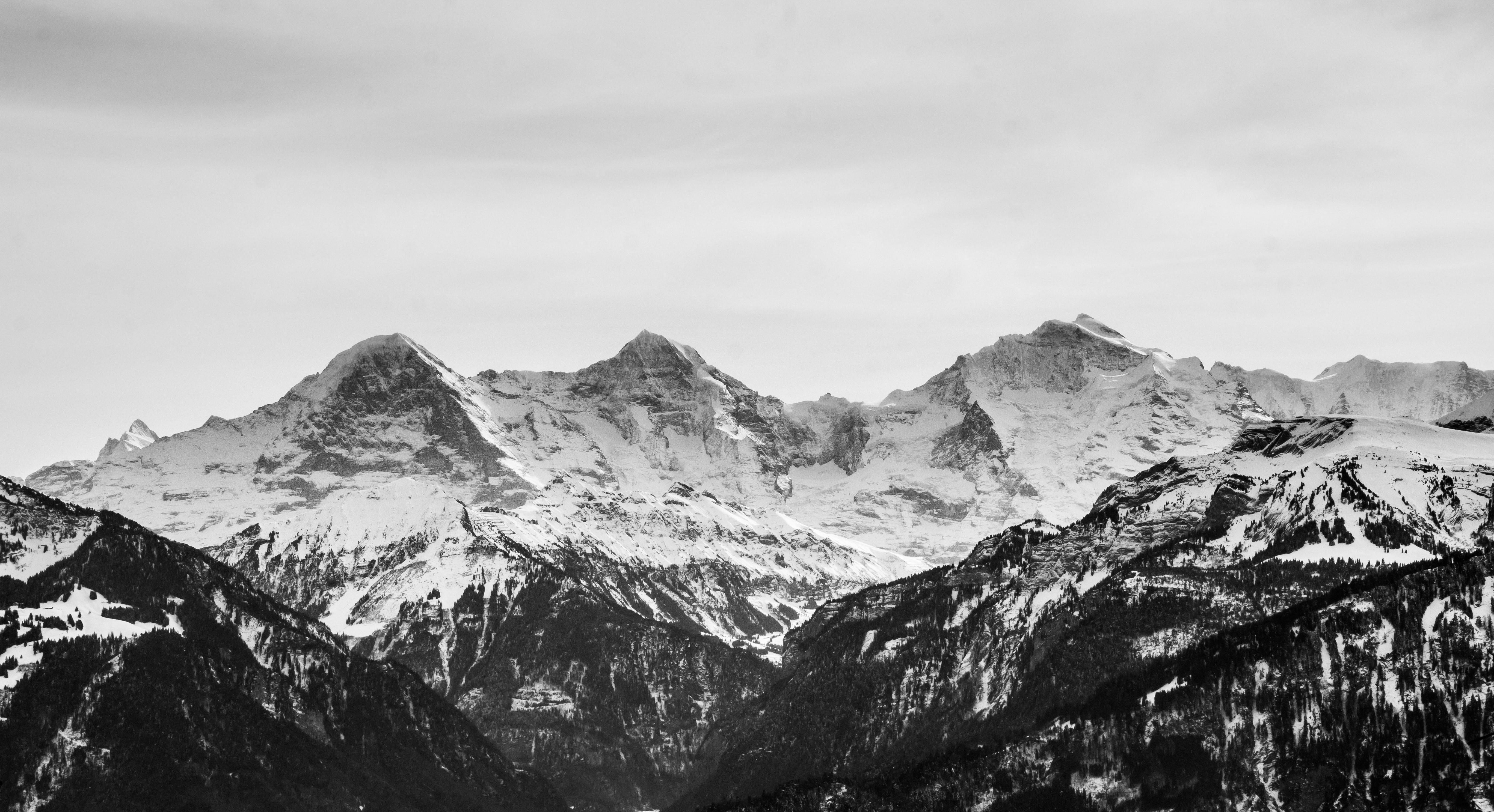 General 5472x2976 landscape nature mountains snow snowy mountain snowy peak monochrome sky