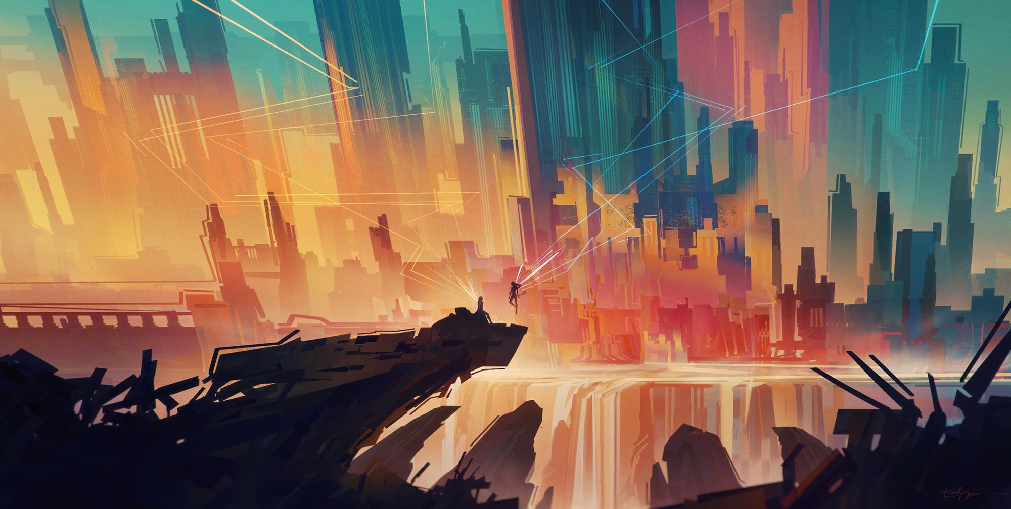 General 2000x1007 Bastien Grivet cityscape angel abstract artwork digital art DeviantArt