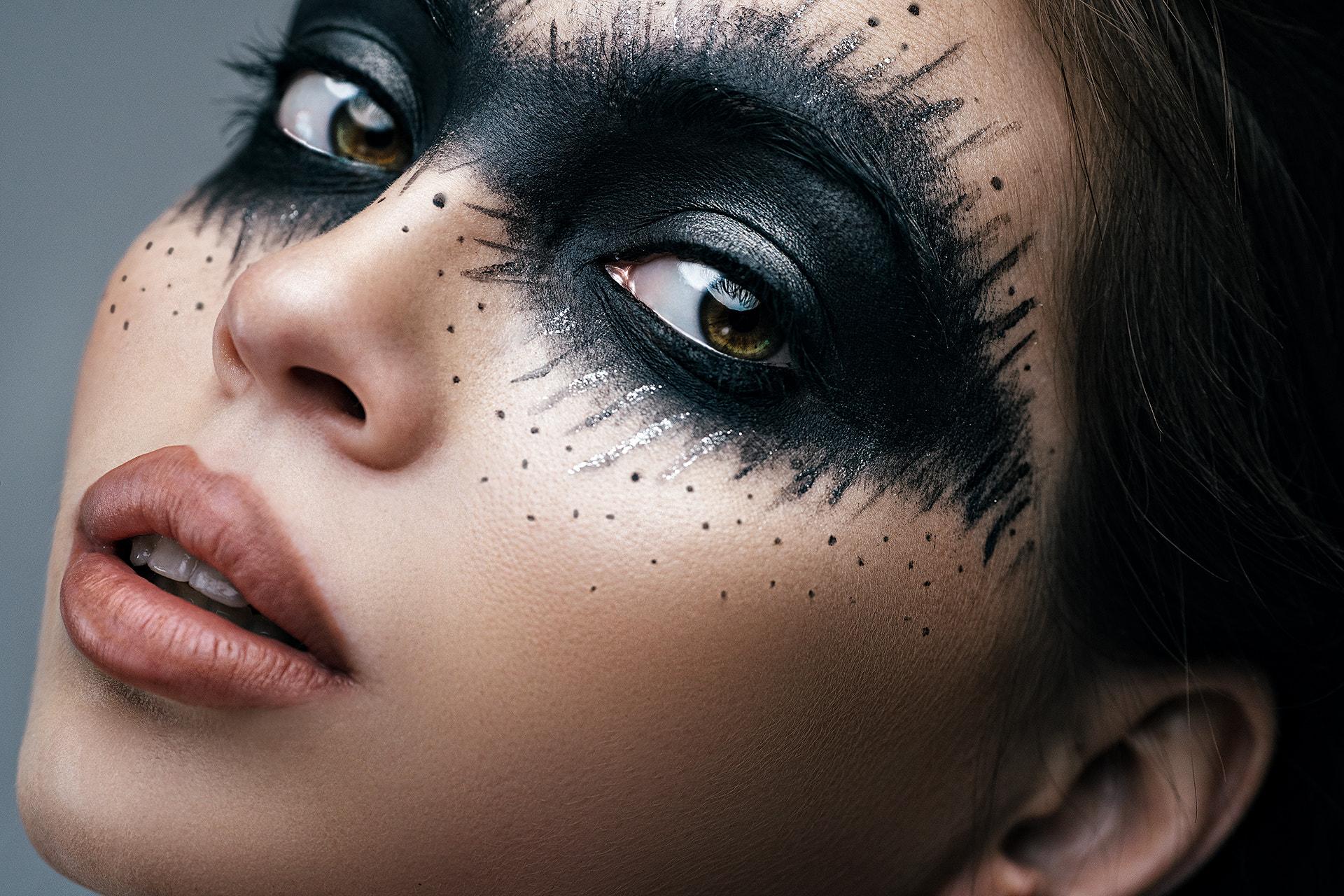 People 1920x1280 Sergey Vostrikov women brunette makeup face paint eyeshadow brown eyes eyeliner lipstick open mouth