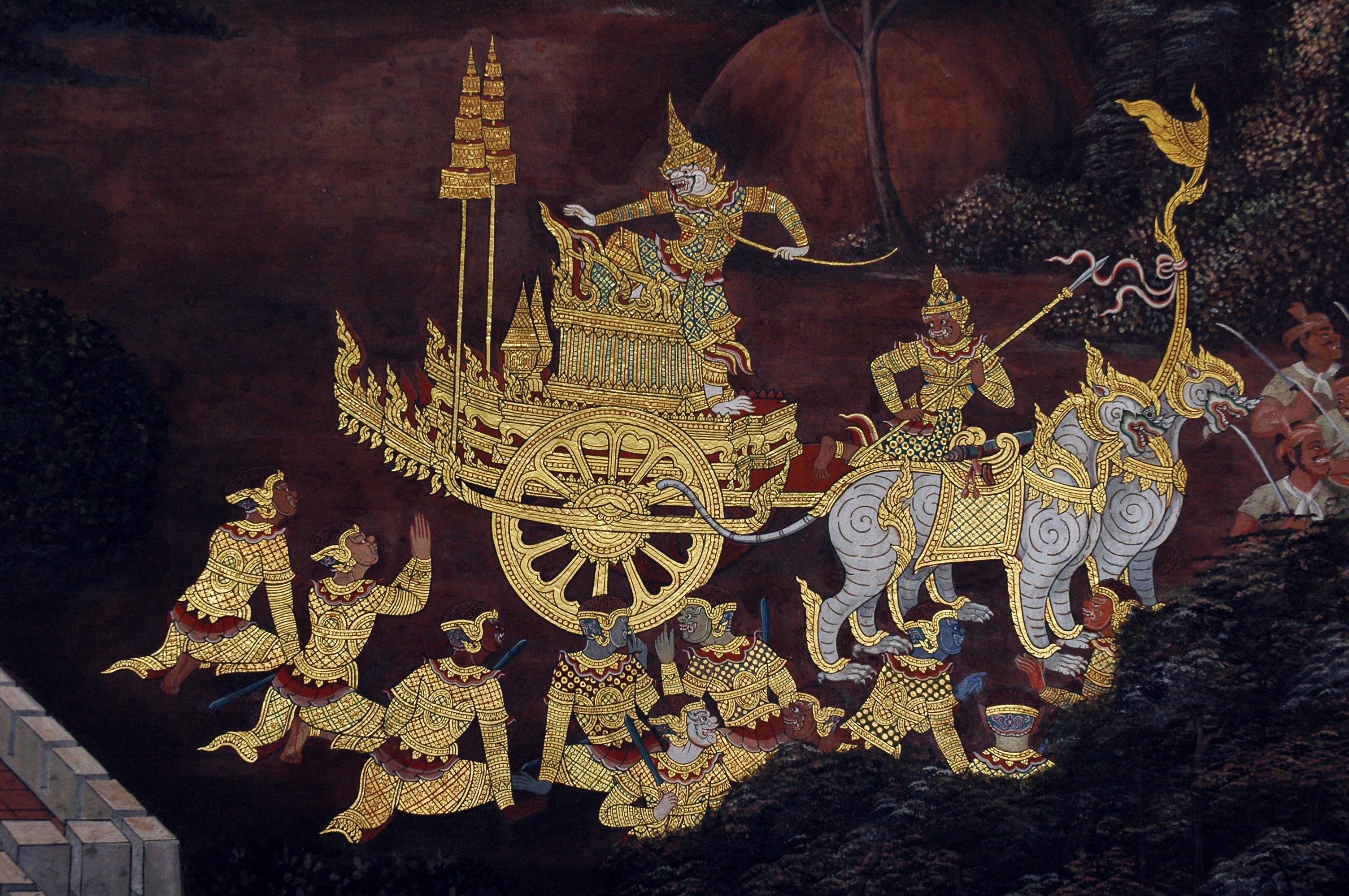 General 3008x2000 classic art Ramayana Hinduism Hindu Mural Thailand Ramakien Mural