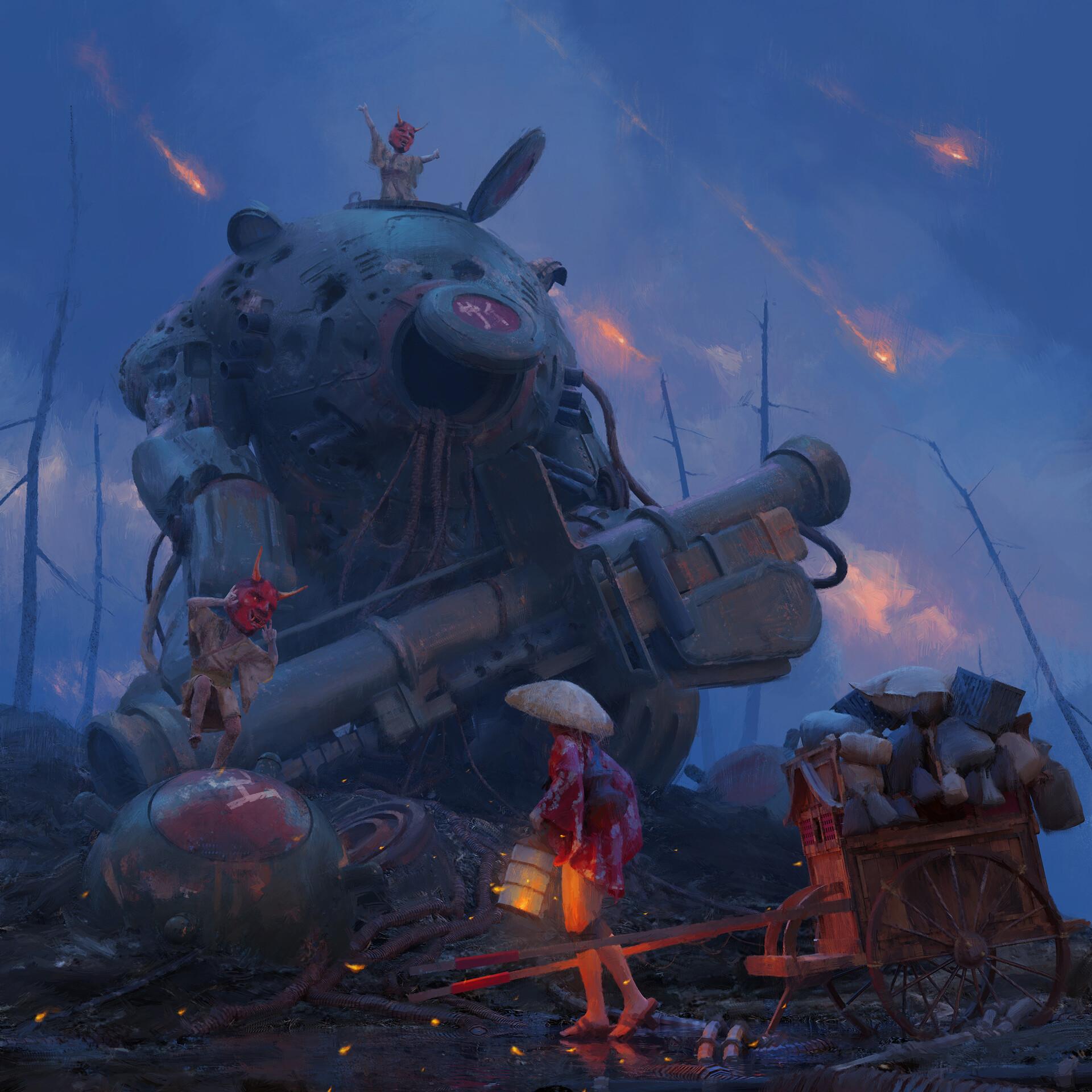 General 1920x1920 mech demon mask weapon horns eastern wires debris cannons lantern children women fire