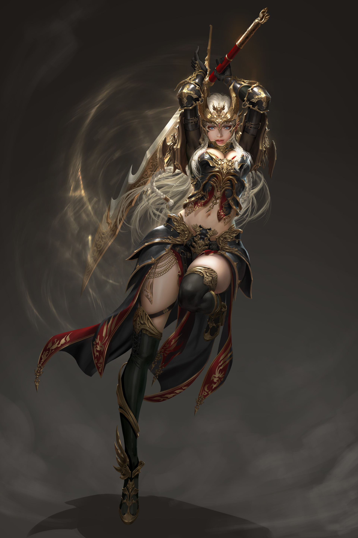 Anime 1920x2887 Daeho Cha cleavage heels sword weapon thigh-highs