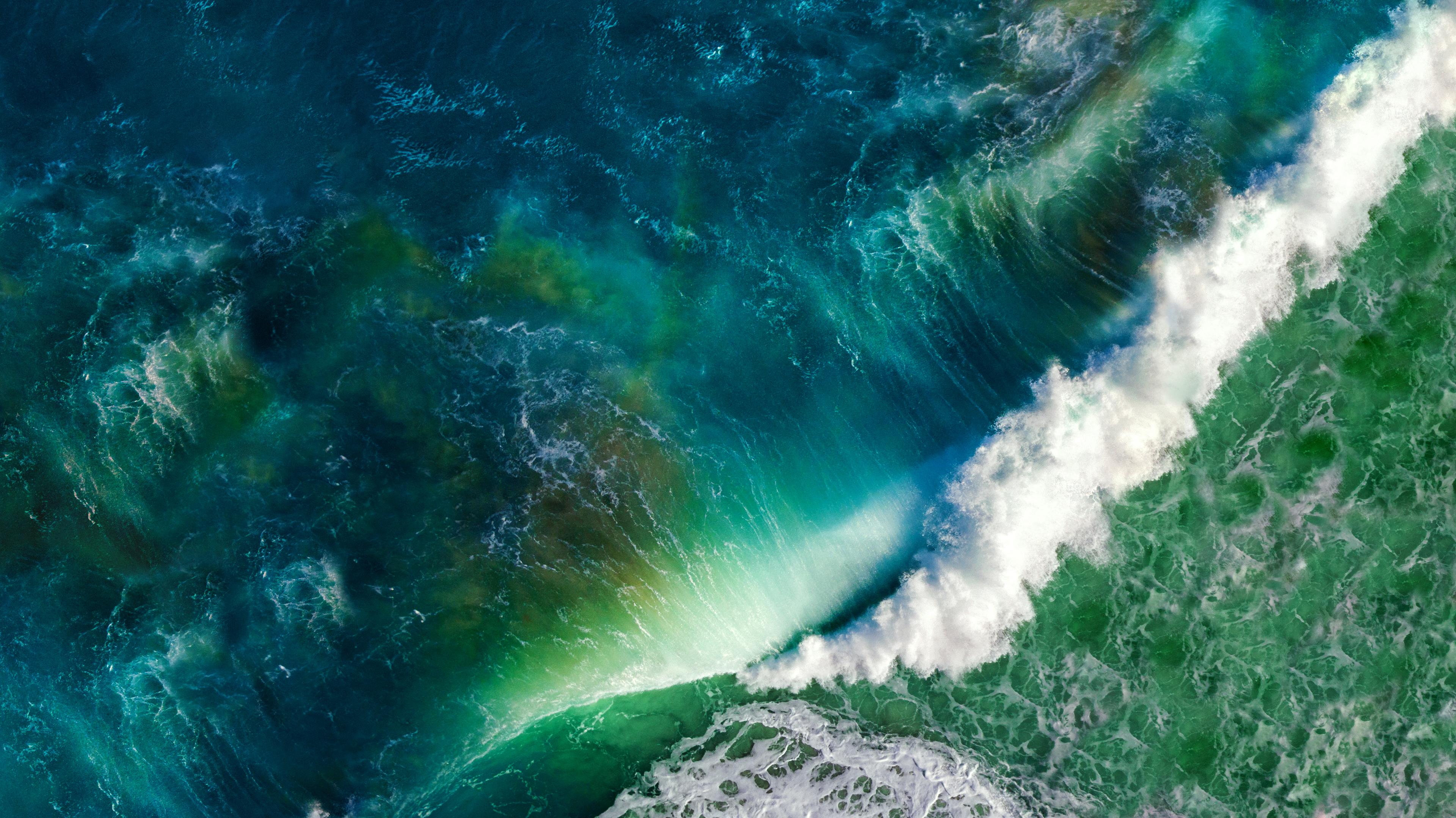 General 3840x2160 waves sea sea foam colorful anime