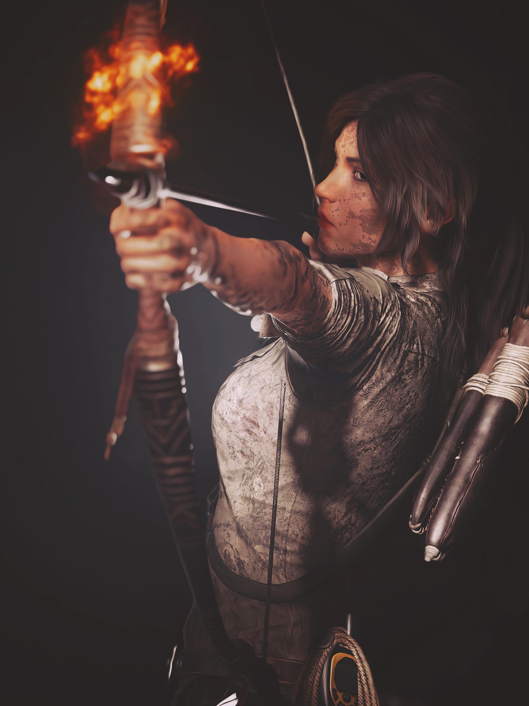 General 2000x2667 Lara Croft fire dark tomb raider 2013 video game girls Tomb Raider bow PC gaming video game art aiming video games