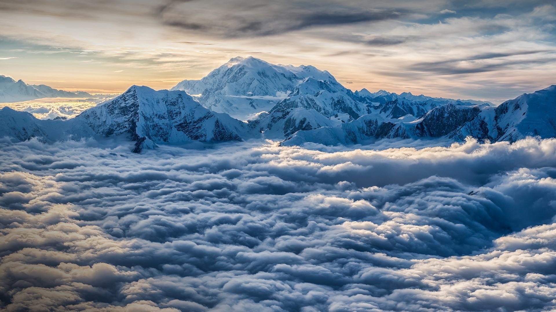 General 1920x1080 clouds sky mountains snowy mountain horizon Mount Logan Yukon Canada Kluane National Park and Reserve