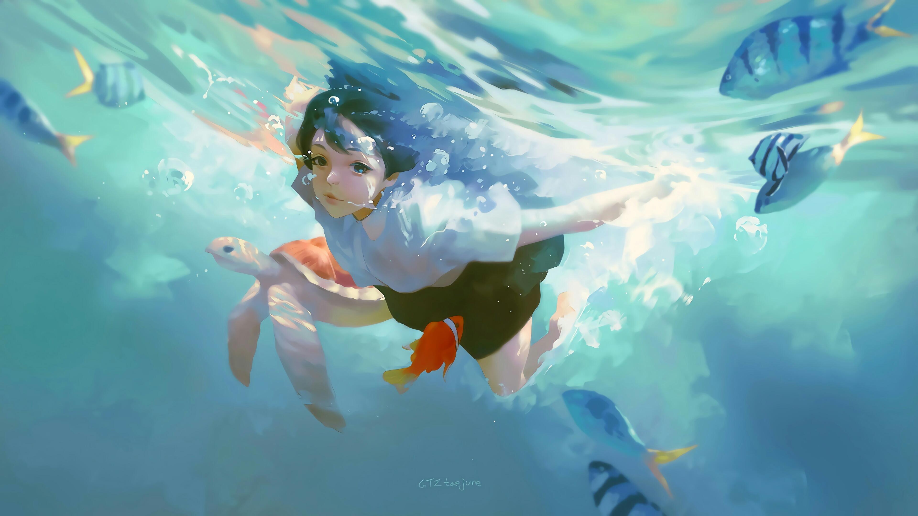 Anime 3840x2160 digital art artwork women brunette Taejune Kim swimming turtle sea fish illustration original characters anime girls drawing water looking at viewer anime in water