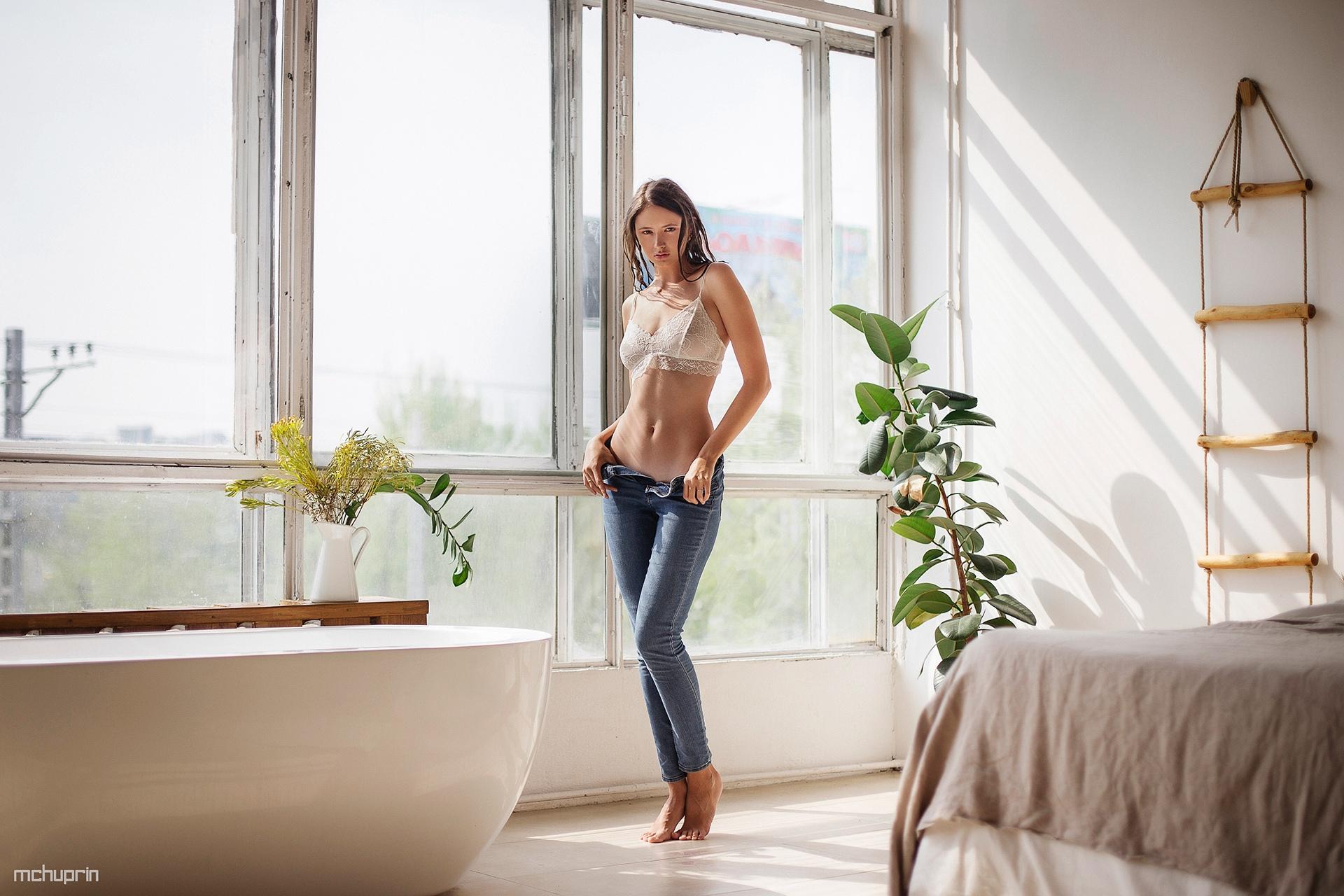 People 1920x1280 Disha Shemetova women model brunette looking at viewer lingerie bra white bra belly jeans denim barefoot window indoors women indoors Maksim Chuprin Maxim Chuprin Twistys tiptoe
