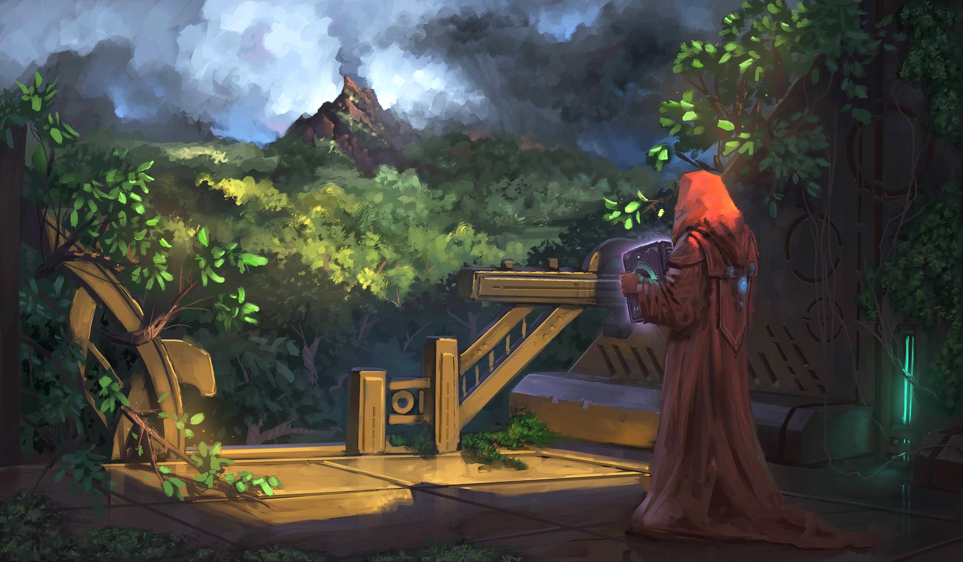 General 1920x1120 Jeremy Adams concept art forest sorcerer books mantle gazebo men sheet dark nature