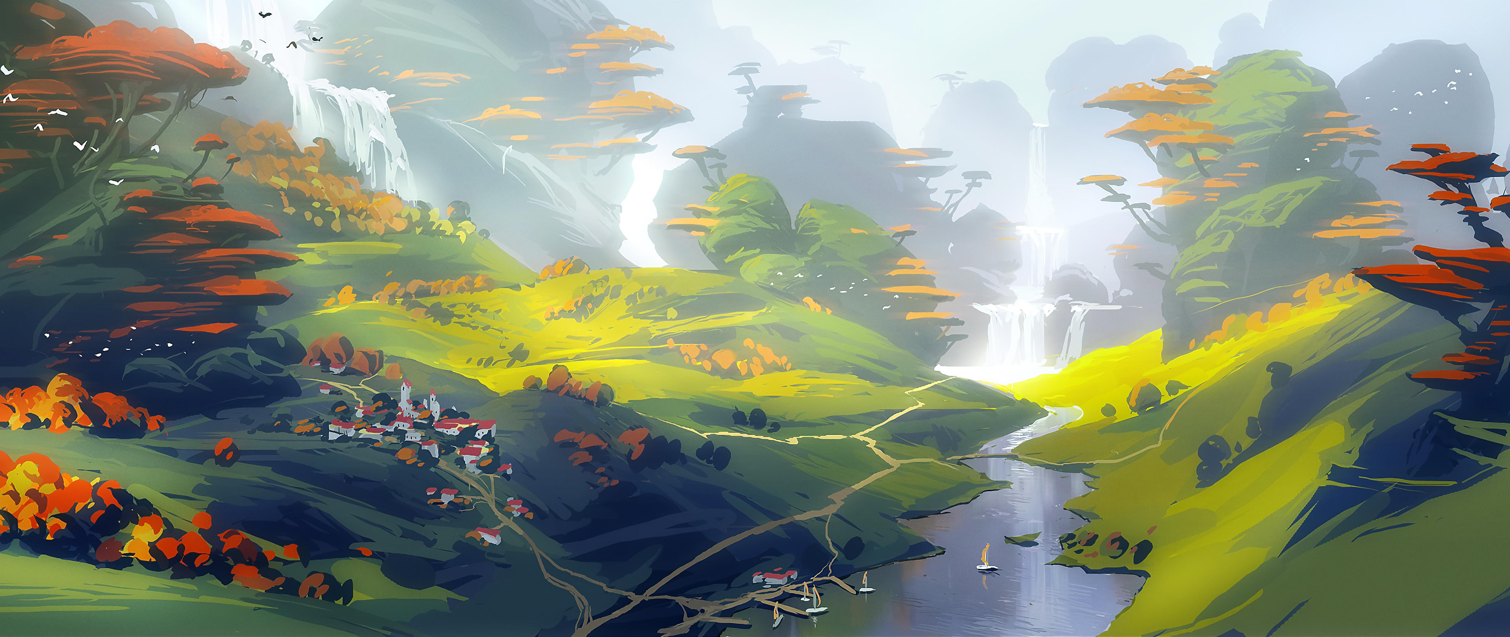 General 5120x2160 digital digital art artwork illustration drawing digital painting environment nature seasons fall landscape trees water sea waterfall mountains mist village villages town boat painting concept art outdoors