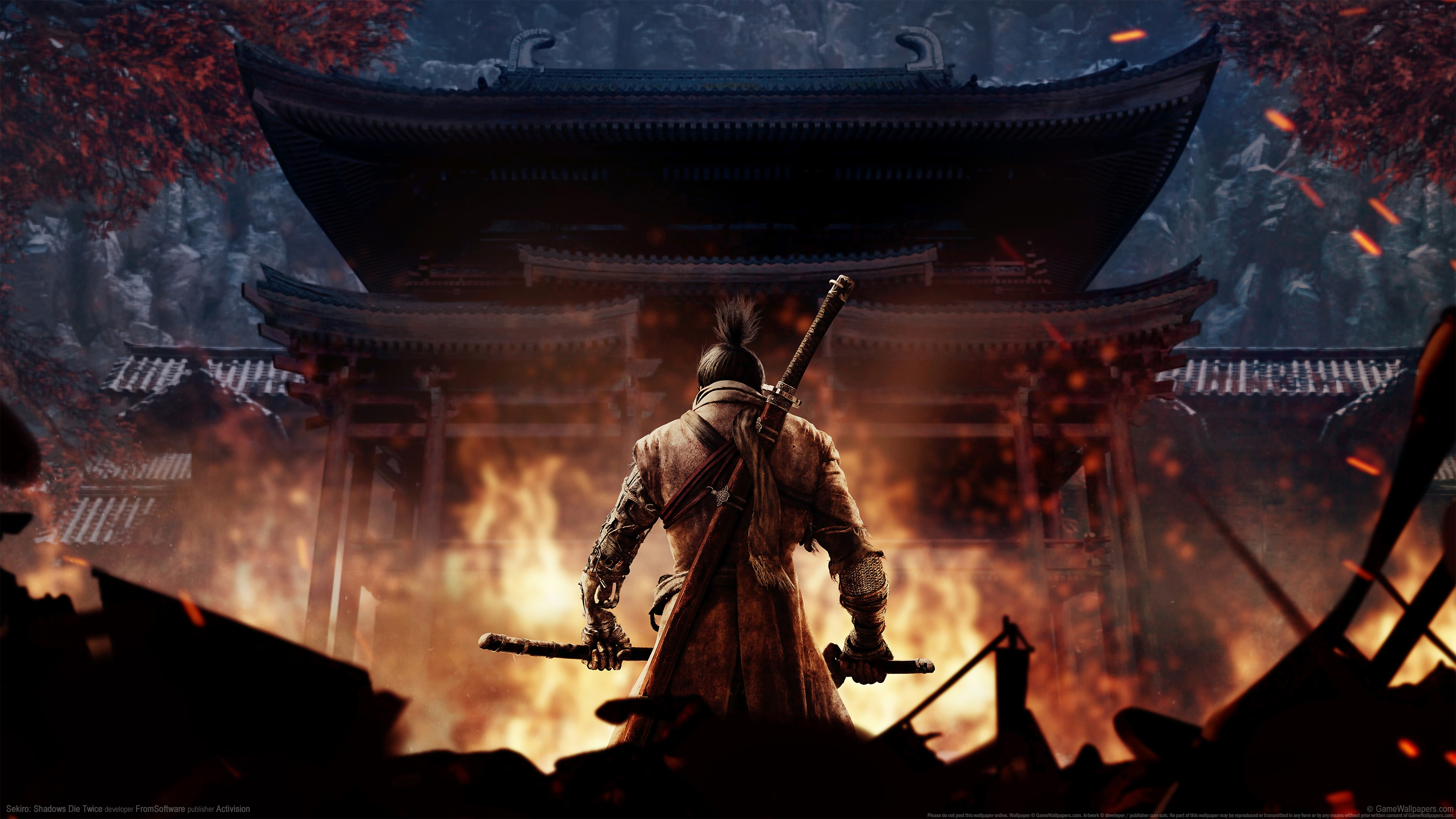 General 3840x2160 Sekiro: Shadows Die Twice samurai video games video game art watermarked From Software