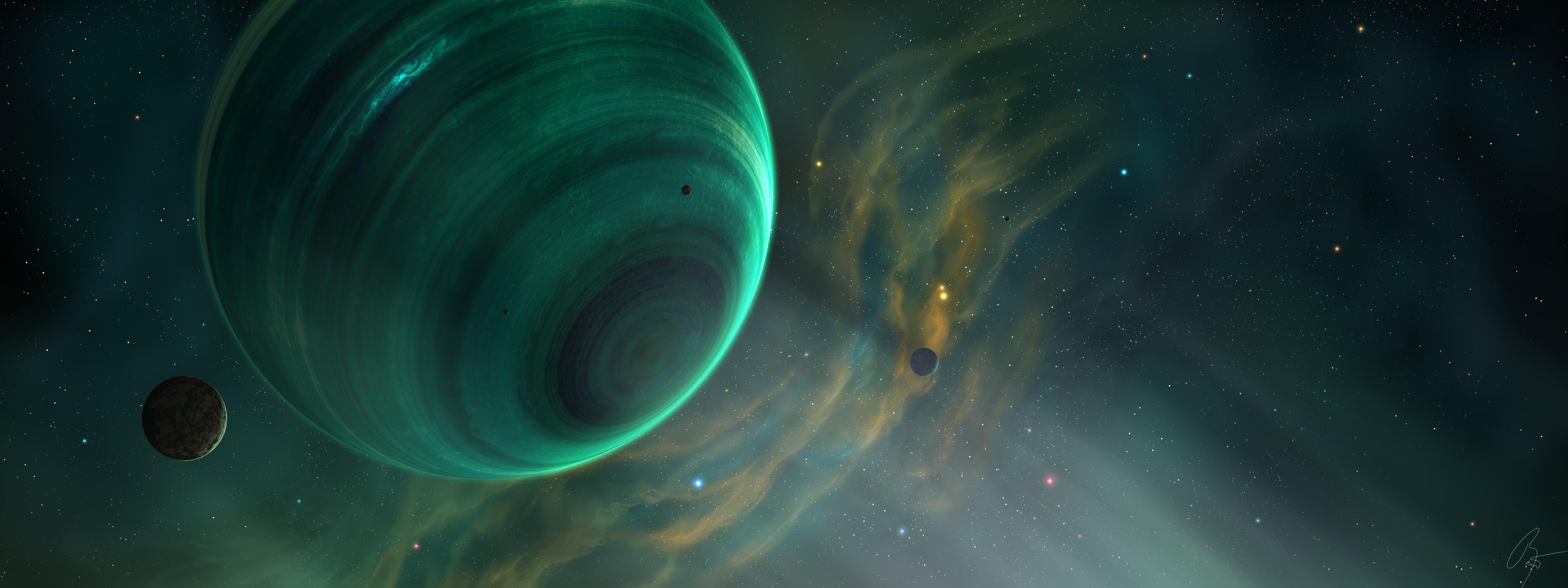 General 5120x1920 space art planet space digital art JoeyJazz