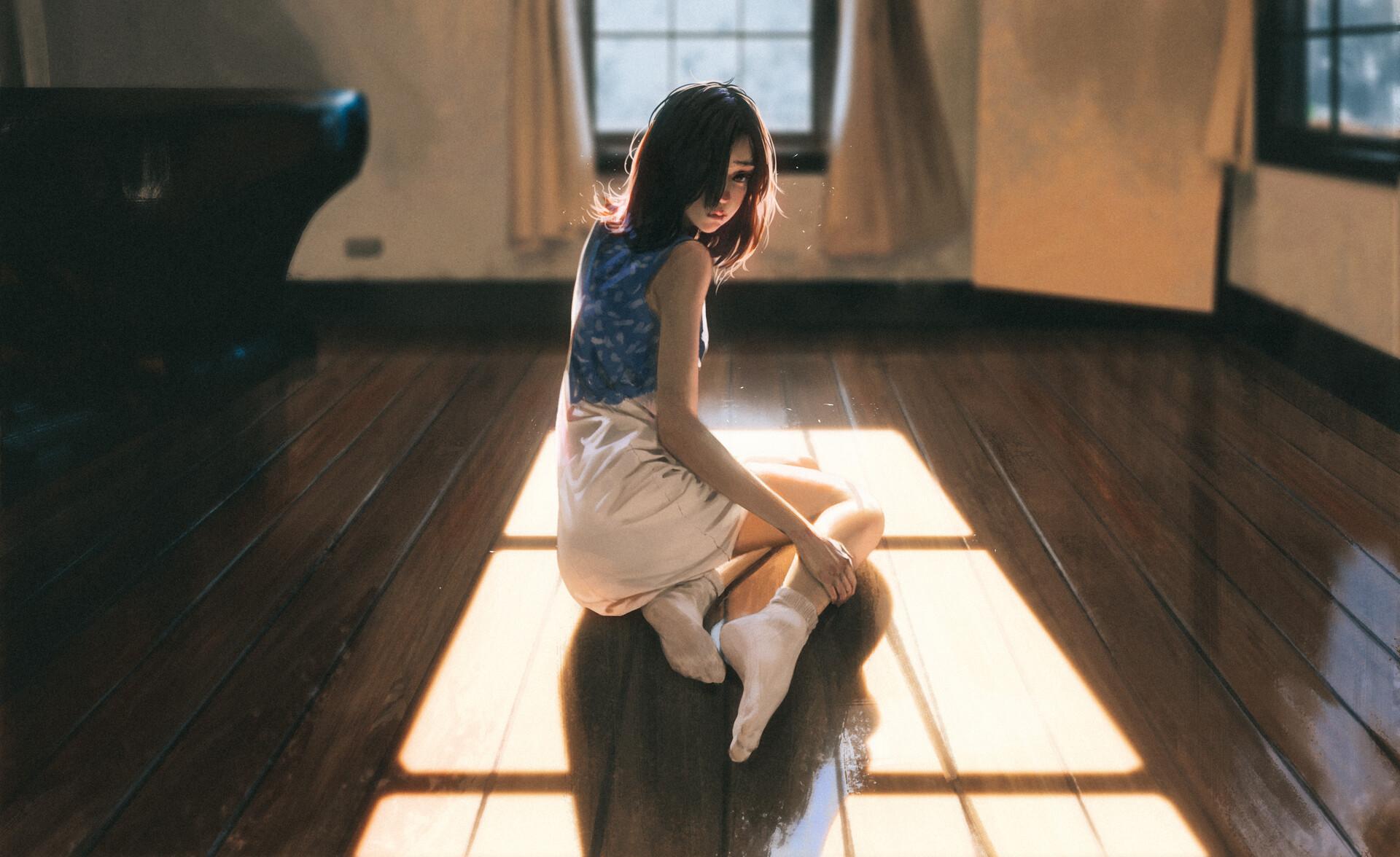 General 1920x1176 Rui Li women window on the floor Sun shadow looking at viewer artwork women indoors socks wooden surface