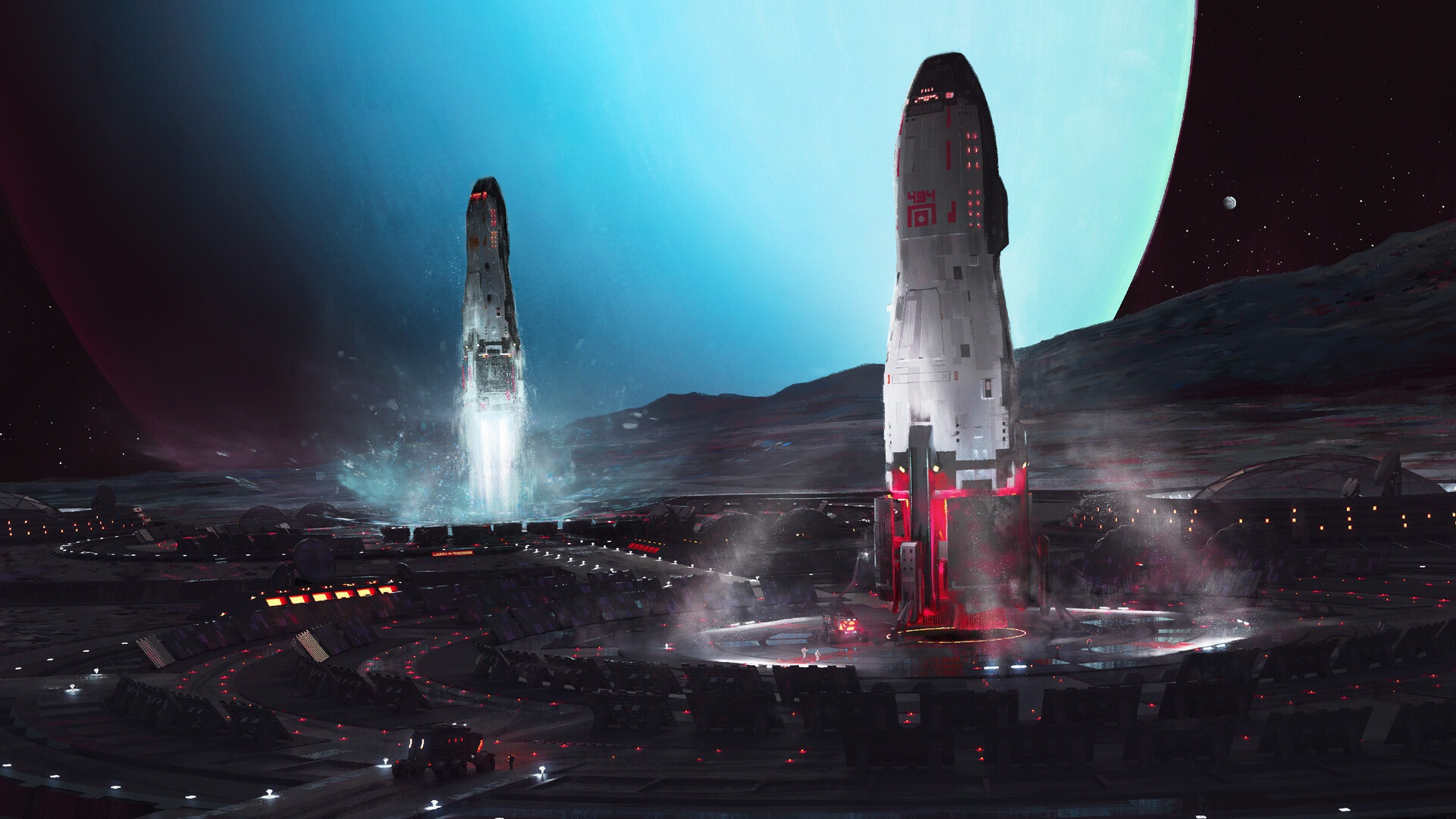General 1920x1080 futuristic science fiction planet space space art digital art spaceship Spaceport Maciej Rebisz