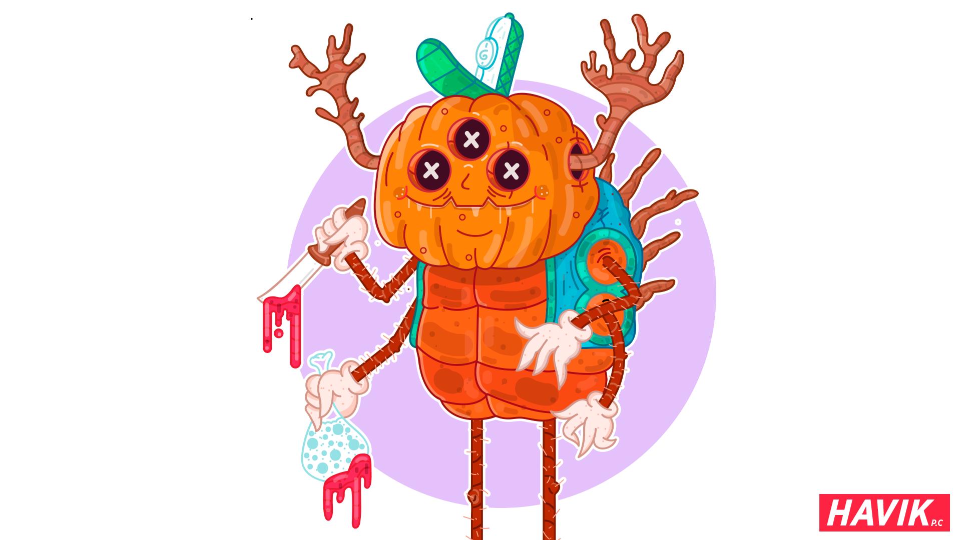 General 1920x1080 pumpkin Halloween creature simple background