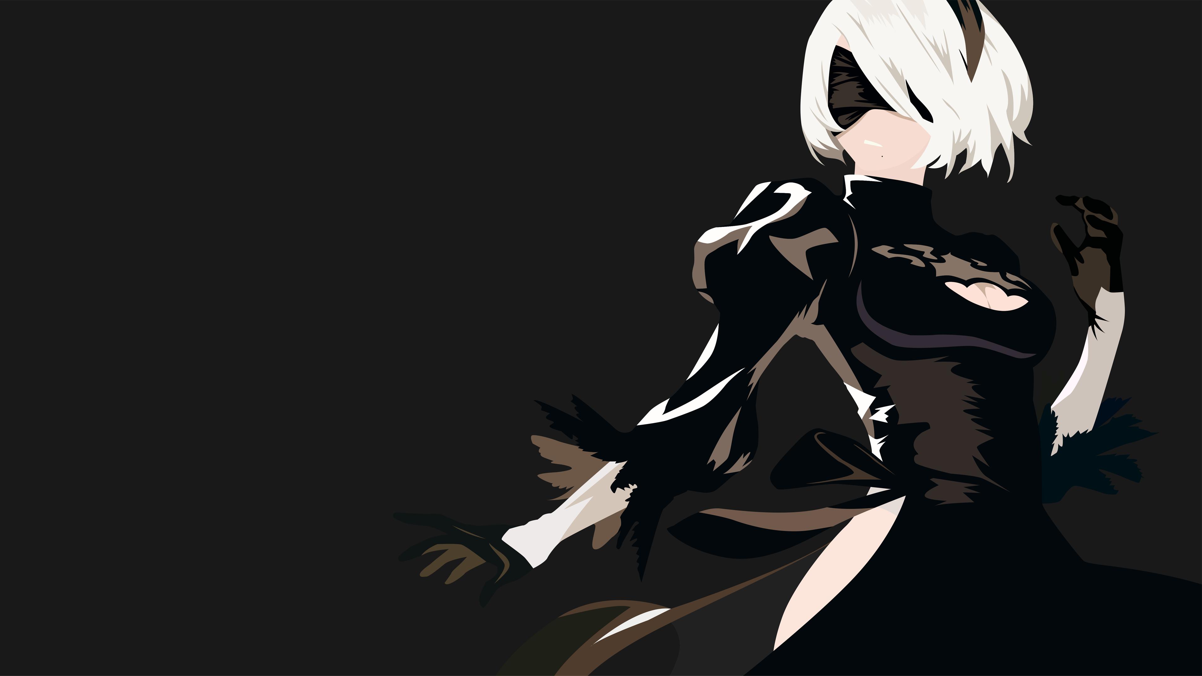Anime 3840x2160 Nier: Automata 2B (Nier: Automata) minimalism simple background NieR