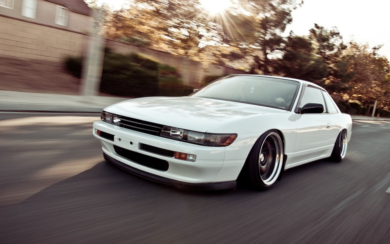 General 1280x800 car Nissan Silvia S13 road Stance tuning lowered trees JDM S13 Silvia S13