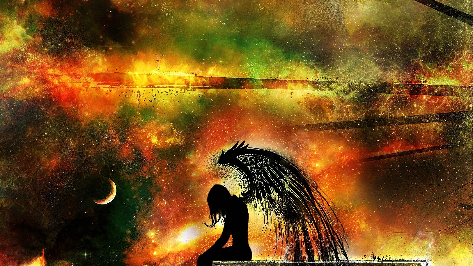 General 1920x1080 space stars Moon angel Klayton Wish Upon a Blackstar