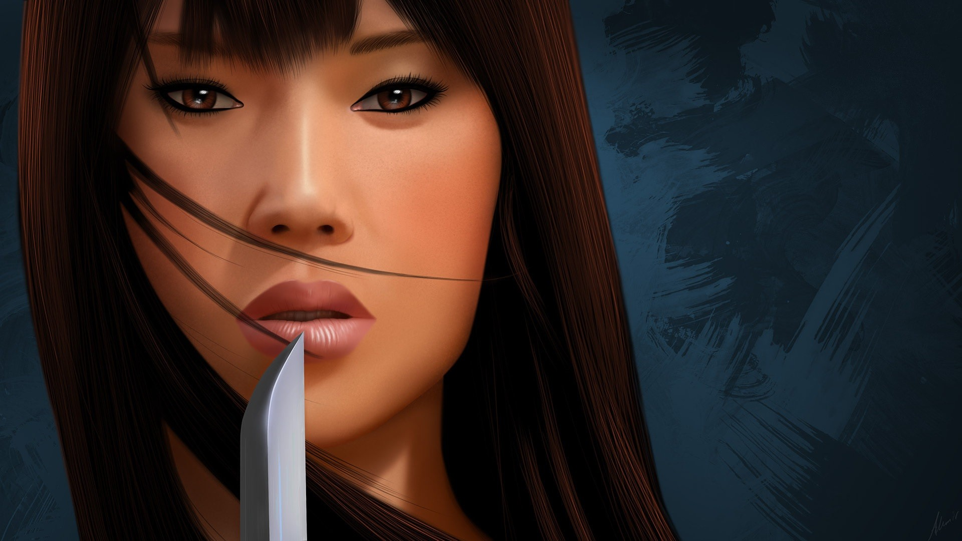 General 1920x1080 Asian drawing digital art women knife