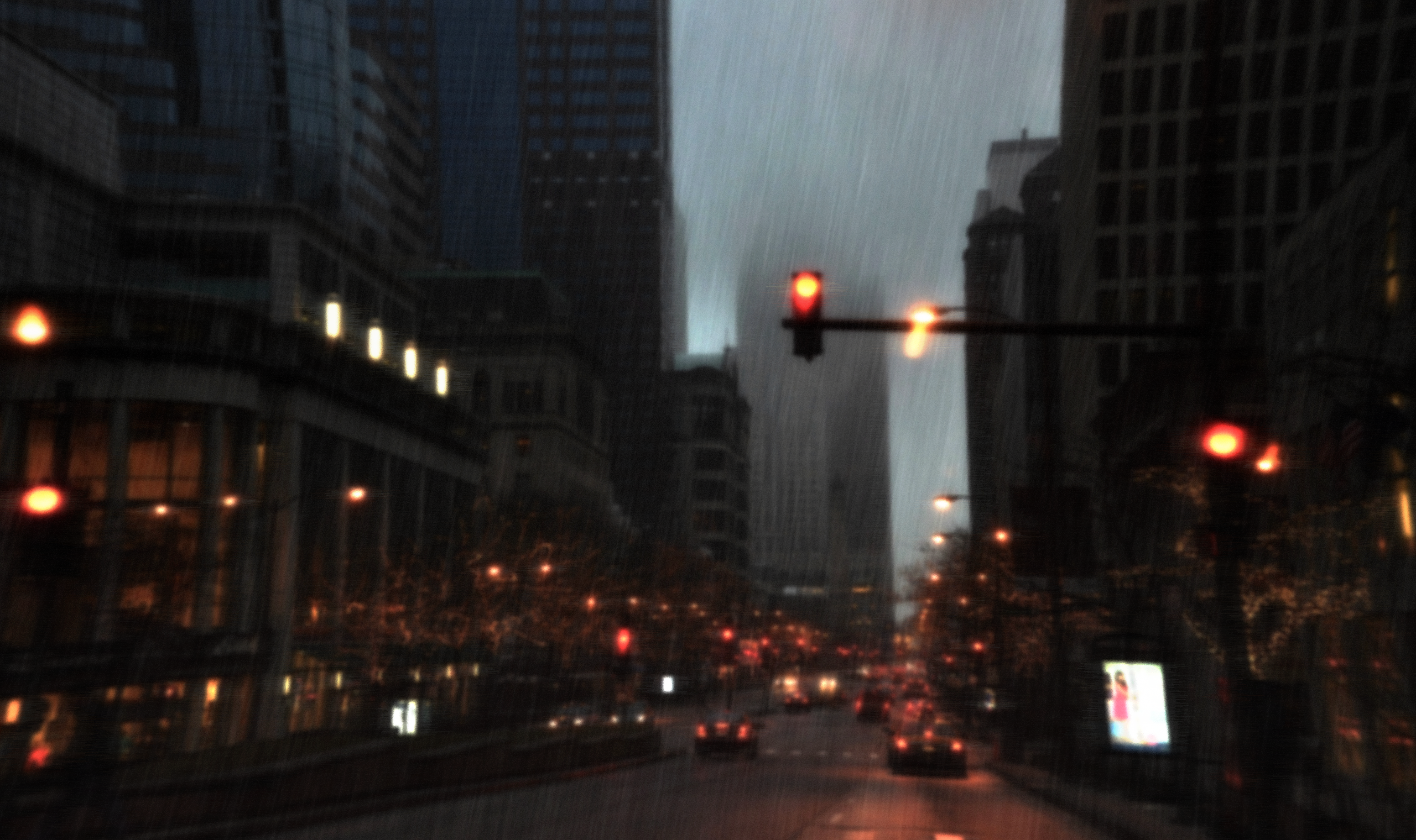 General 2560x1520 rain cityscape car lights building stores advertisements traffic Chicago city USA