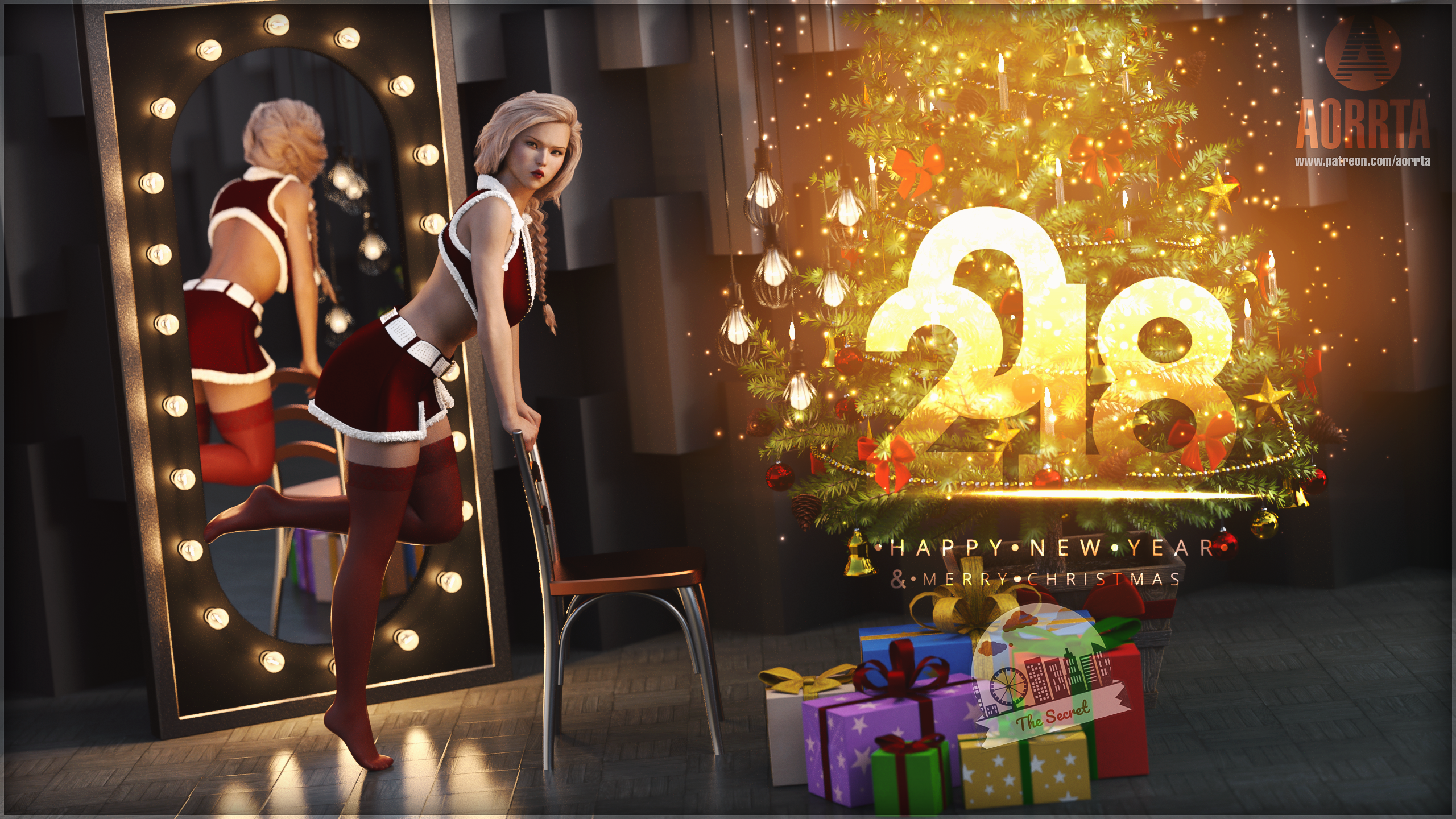 General 2560x1440 3D CG Christmas New Year 2018 (Year) santa outfit ass bra feet legs lingerie panties stockings thigh-highs