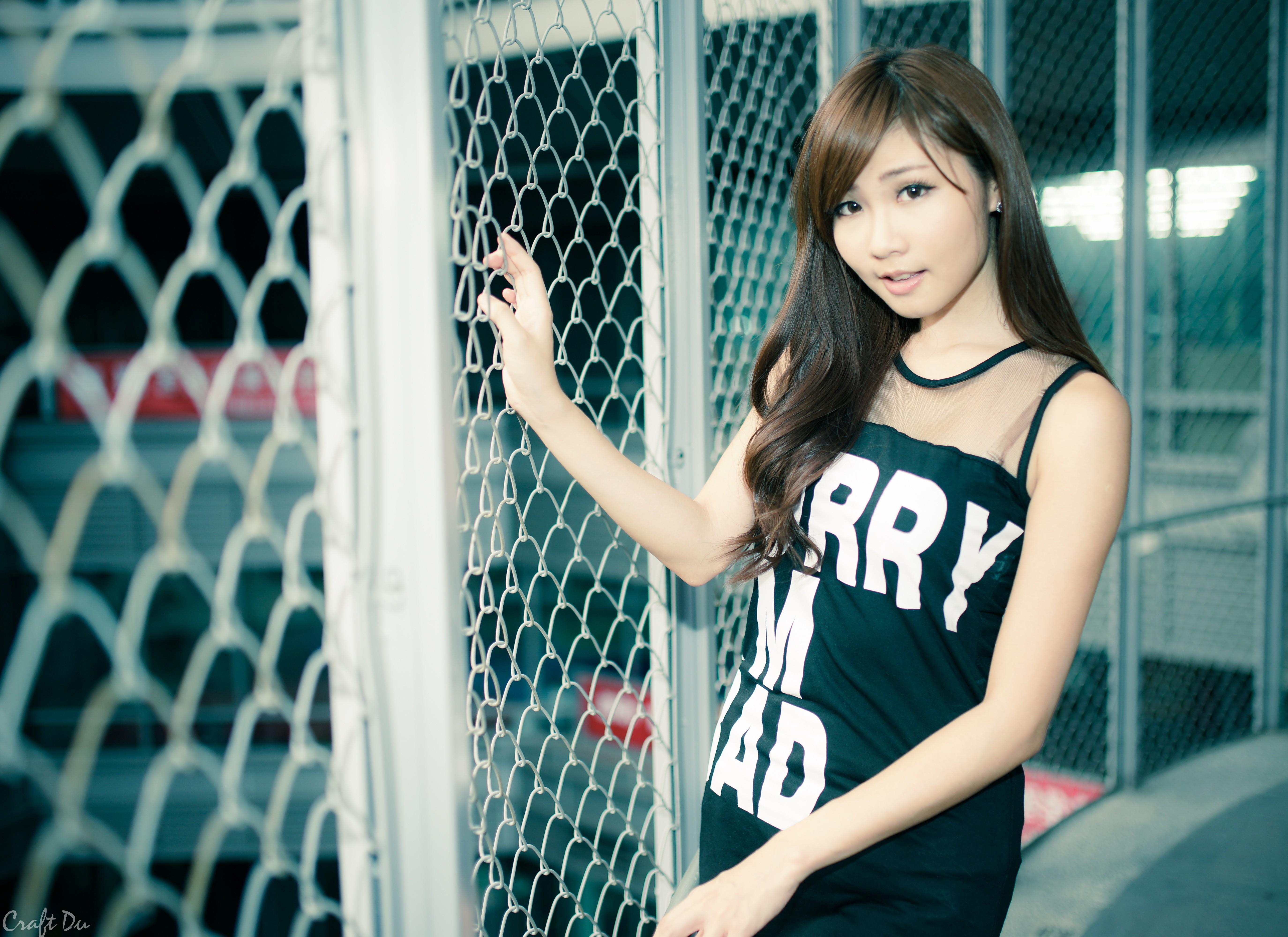 People 5496x4000 brunette brown eyes long hair black dress Zhang Ya Zhu