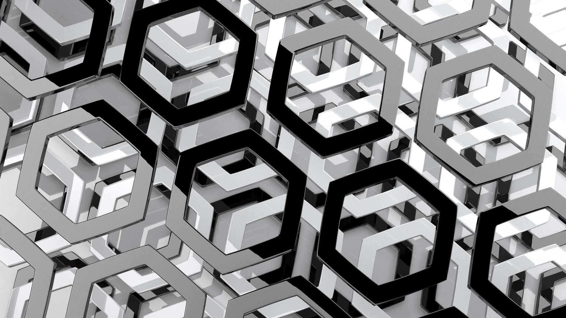 General 1920x1080 abstract hexagon render monochrome