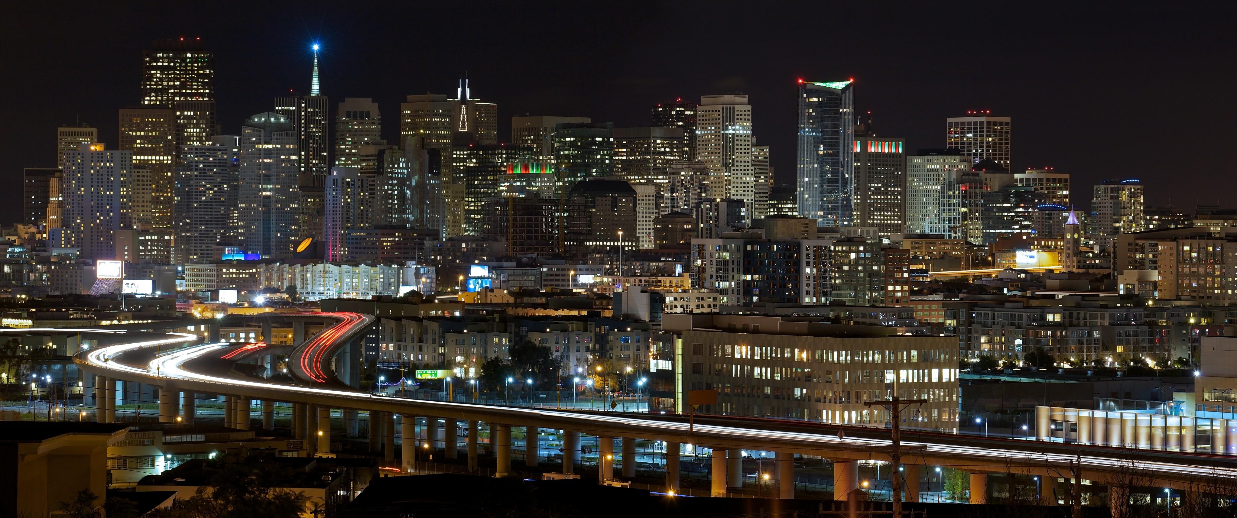 General 4092x1714 city night road San Francisco California