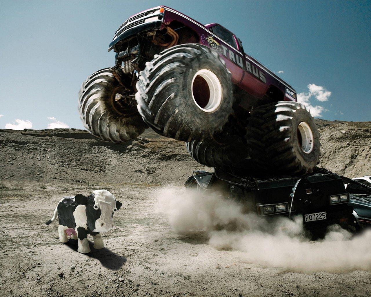 General 1280x1024 cow monster trucks vehicle car trucks numbers