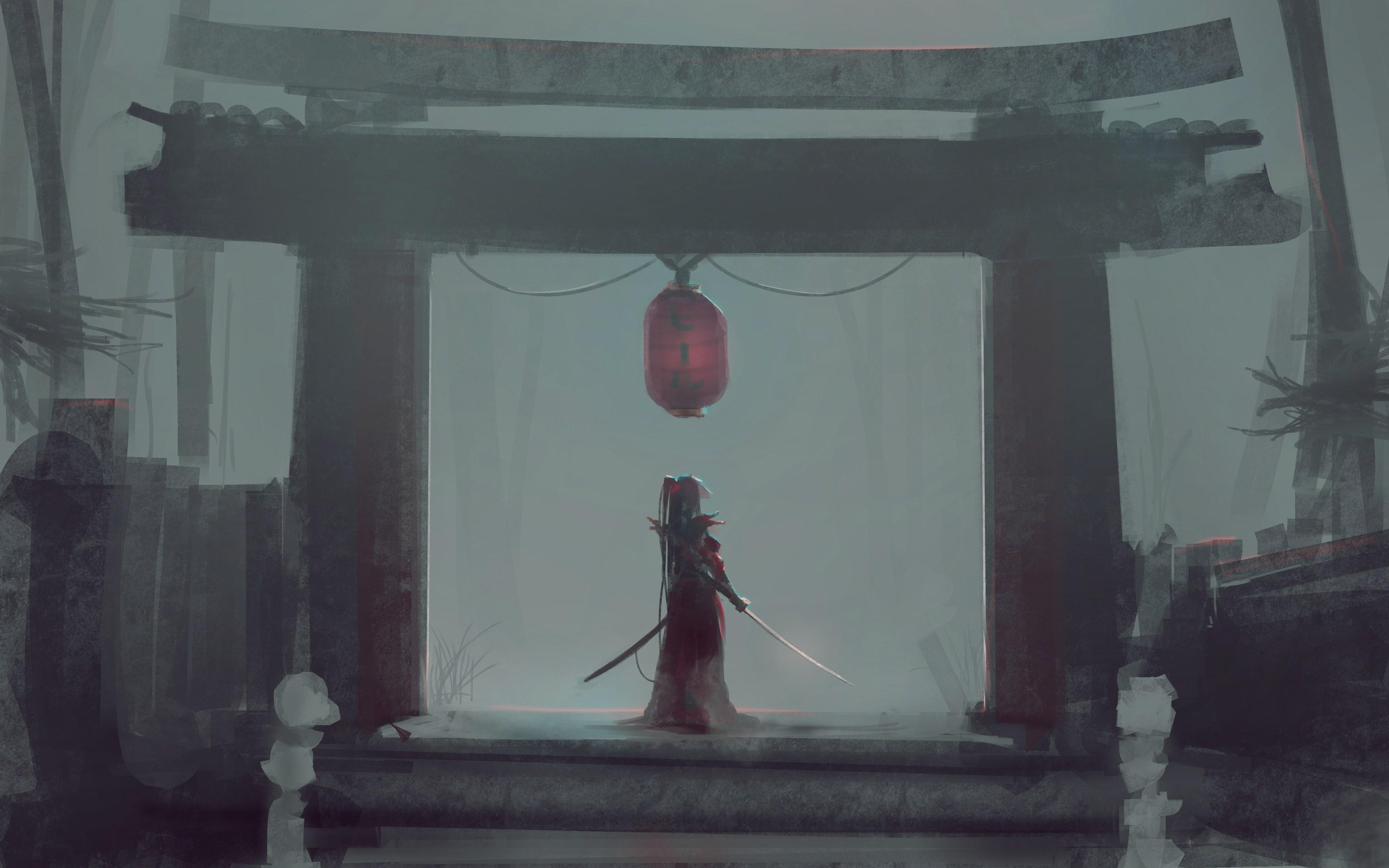 Anime 3910x2444 Japan temple sword lamp