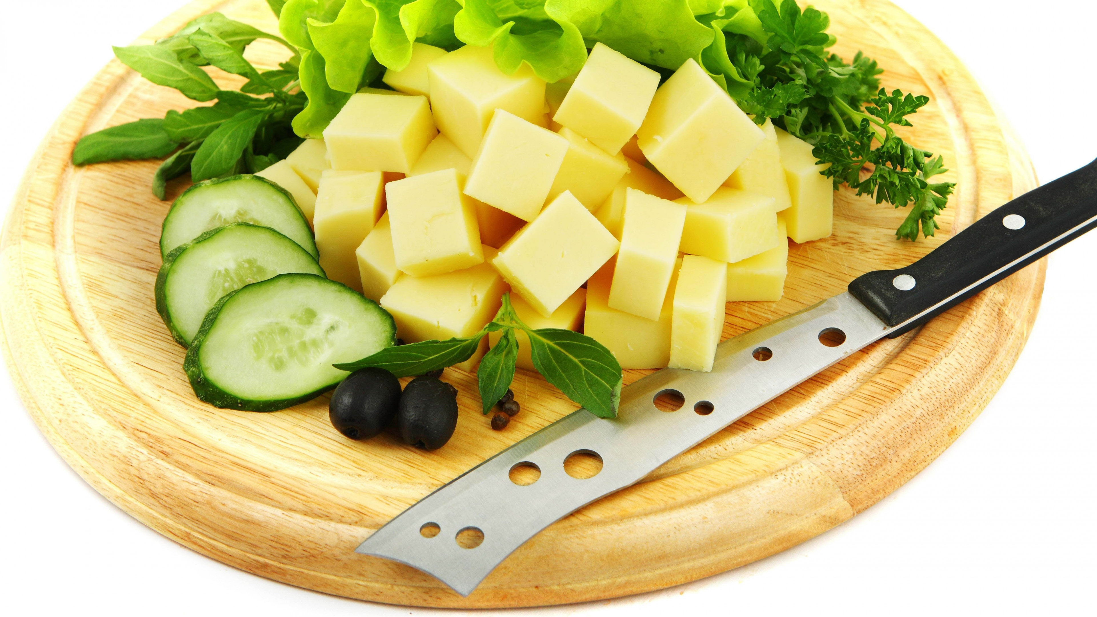General 3840x2160 cheese cucumbers food knife