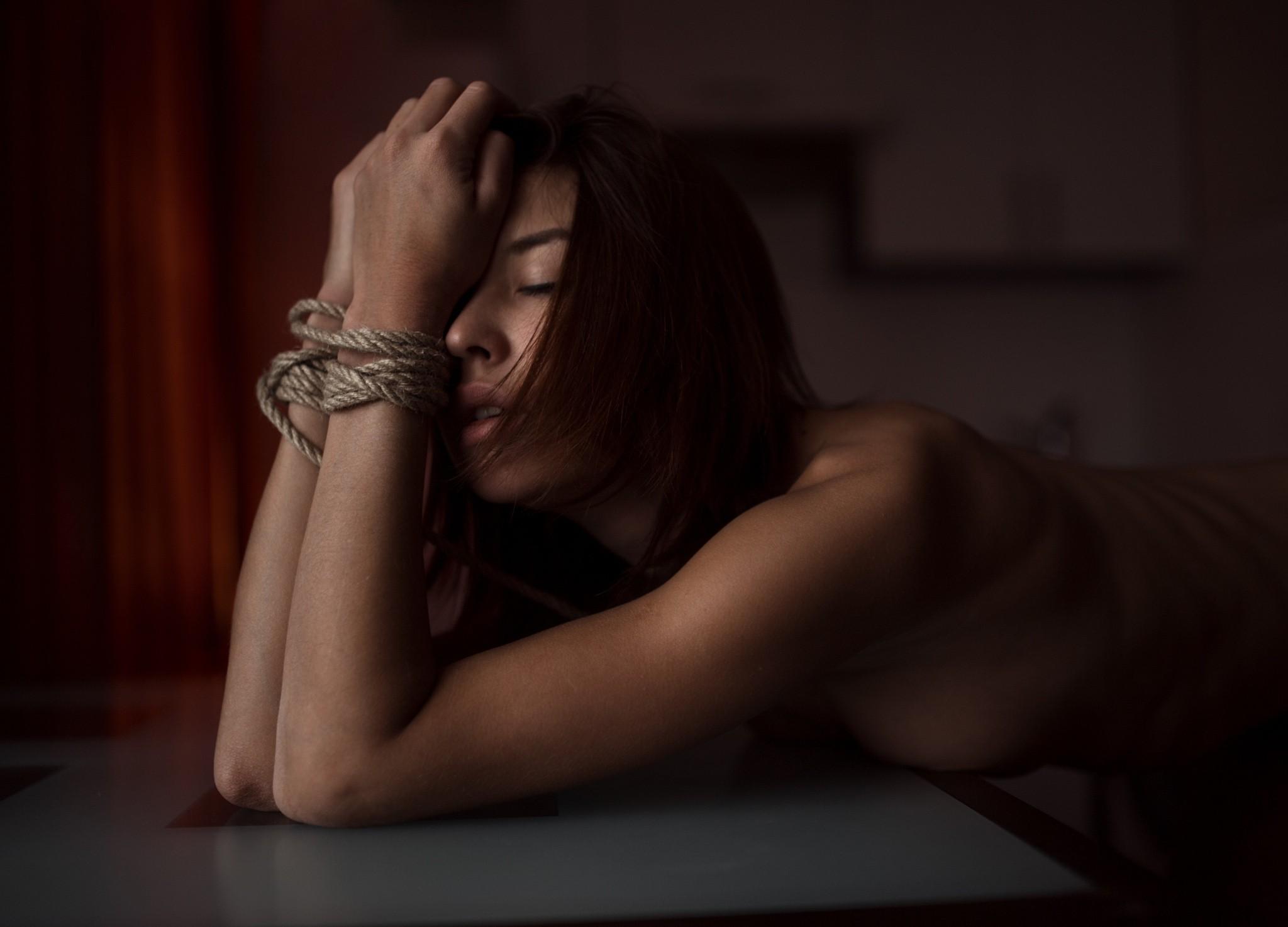 People 2048x1474 women nude BDSM boobs skinny ribs redhead closed eyes sideboob bent over Roman Filippov