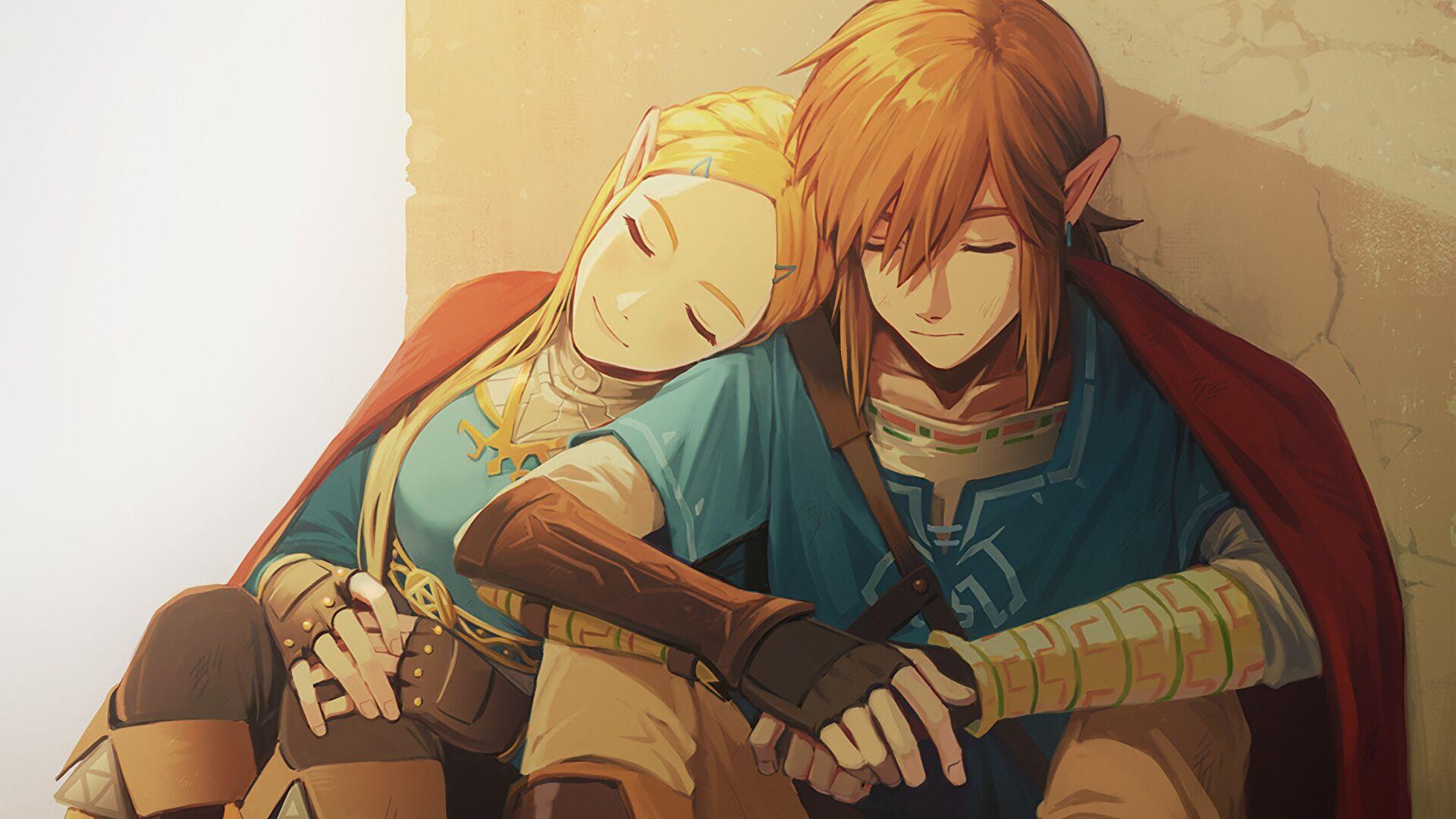 General 1920x1080 The Legend of Zelda: Breath of the Wild Princess Zelda Link video games artwork The Legend of Zelda closed eyes sleeping