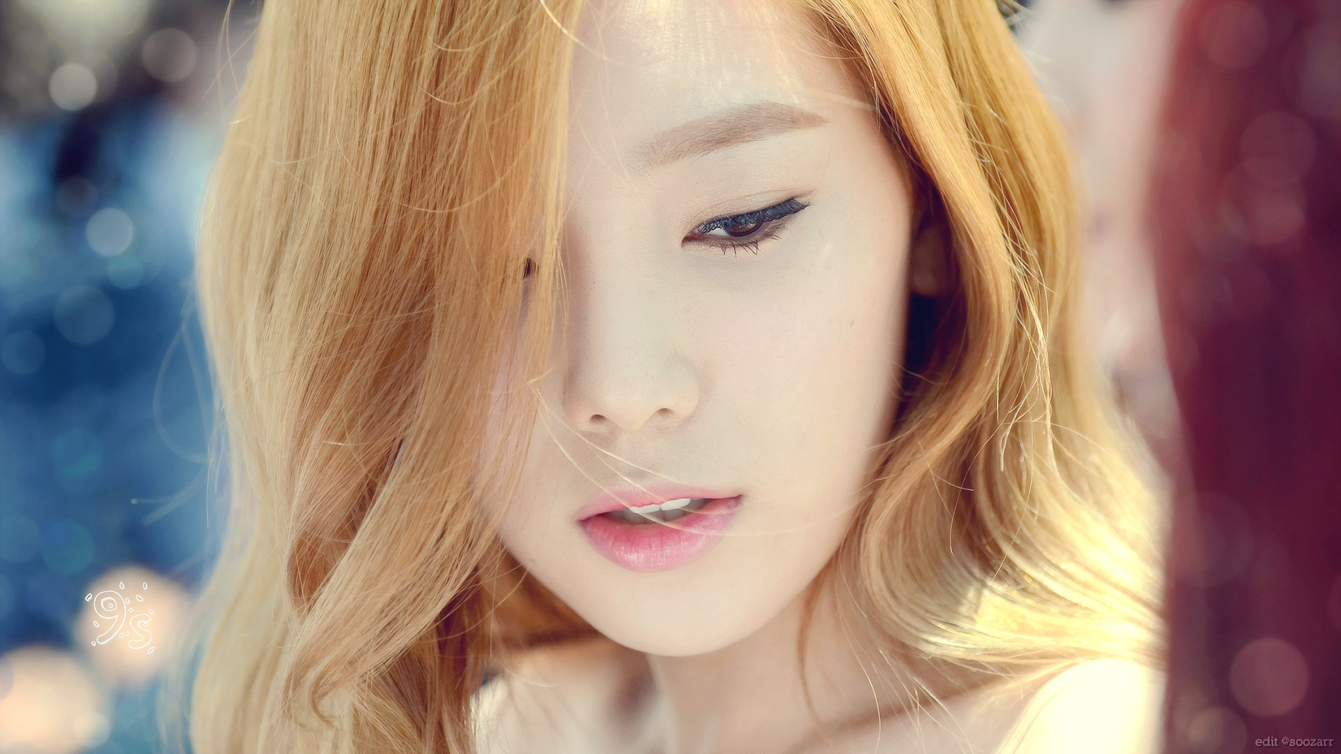 People 1920x1080 Asian Kim Taeyeon Korean women singer K-pop blonde closeup eyeliner