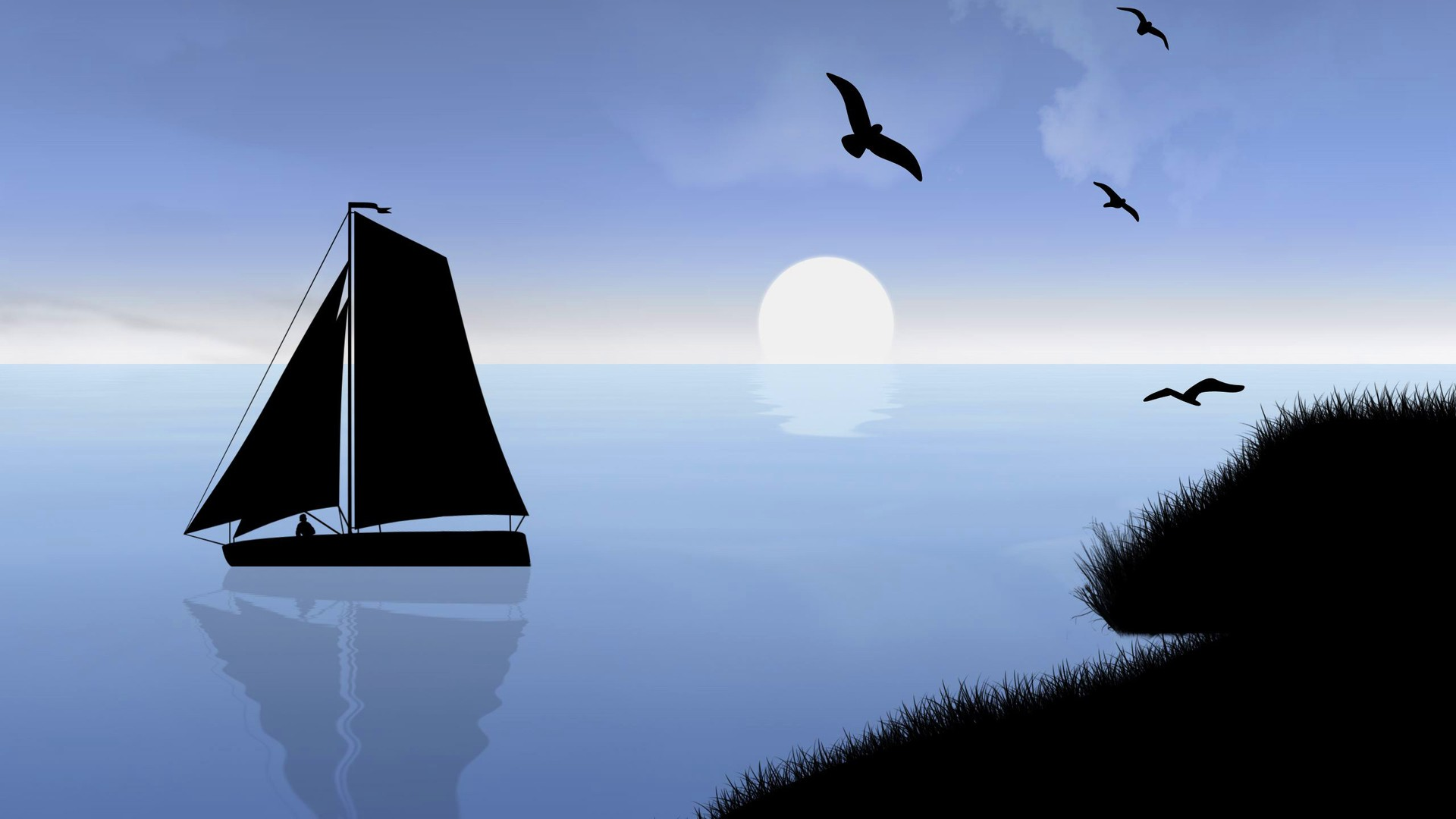 General 1920x1080 digital art landscape water sea men coast grass birds night Moon silhouette reflection clouds minimalism