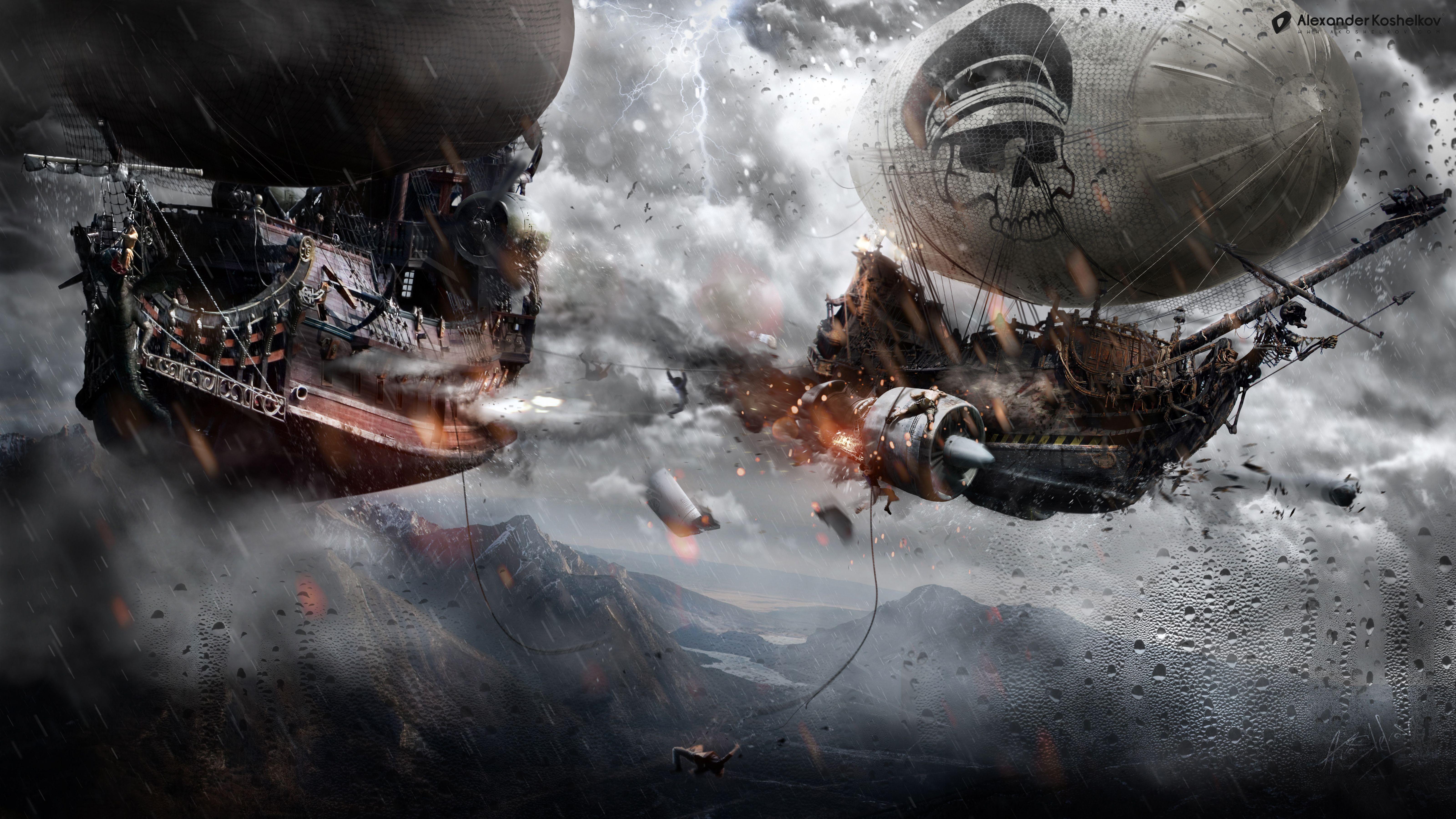 General 6400x3600 artwork fantasy art digital art steampunk ship battle sky pirates airships Alexander Koshelkov