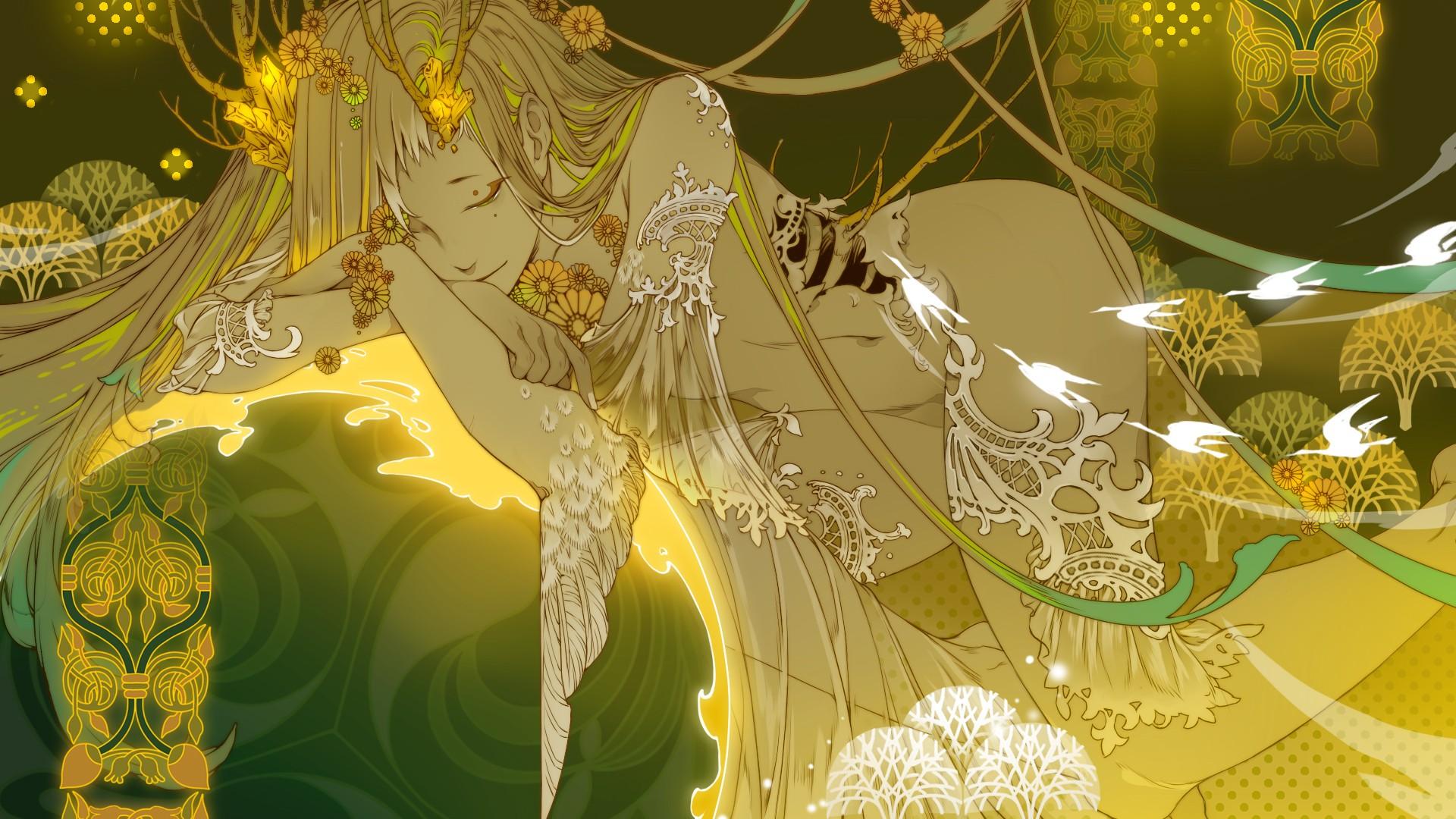 Anime 1920x1080 anime girls original characters nude erotic art  long hair bangs blonde branch flowers closed eyes sleeping wings gold