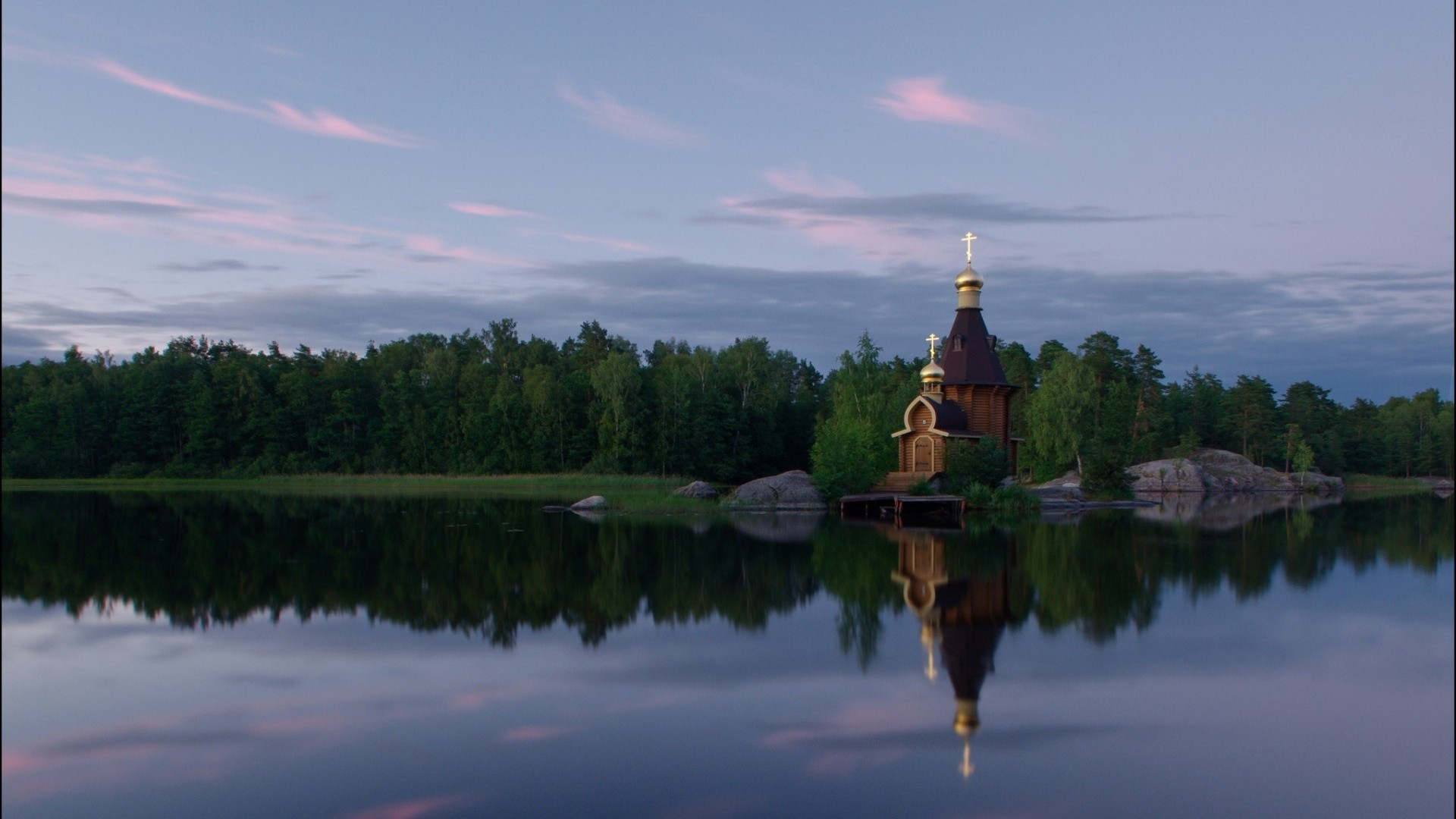 General 1920x1080 nature landscape trees forest water river sky clouds cross church rock reflection Russia