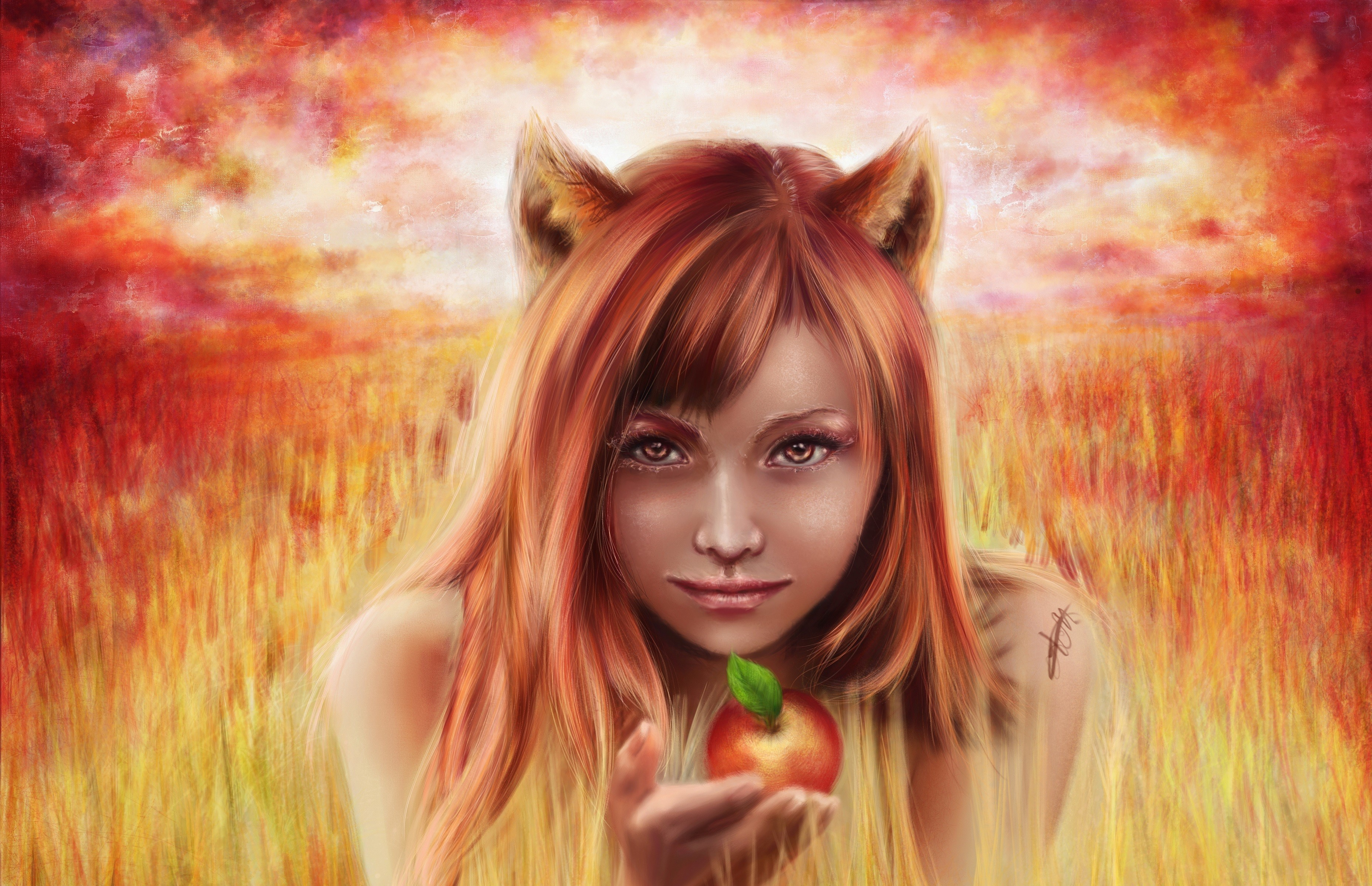 General 3710x2396 fantasy art apples women artwork
