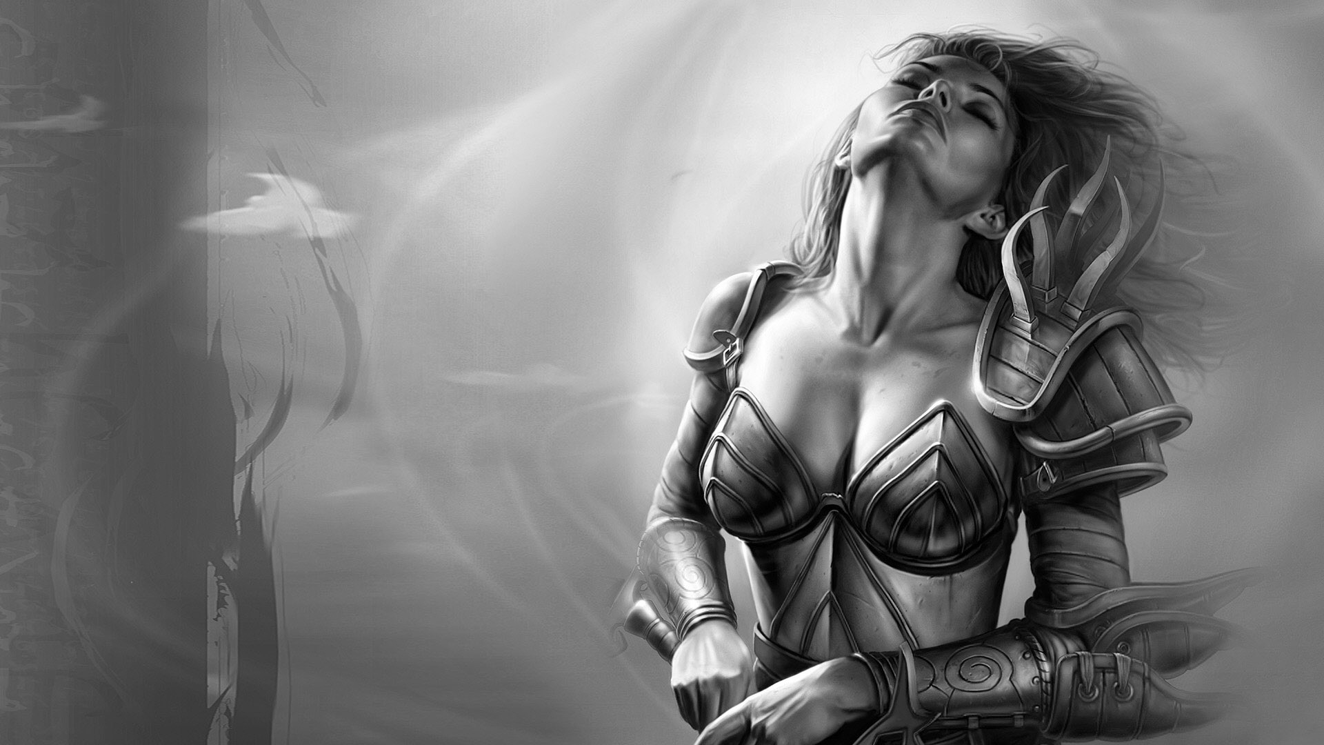 General 1920x1080 Aribeth de Tylmarande video games boobs fantasy girl closed eyes
