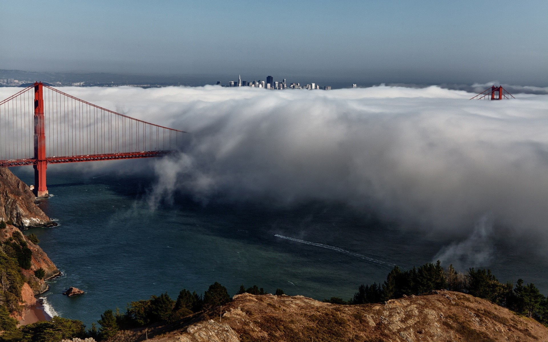 General 1920x1200 bridge clouds Golden Gate Bridge city cityscape San Francisco USA mist landscape