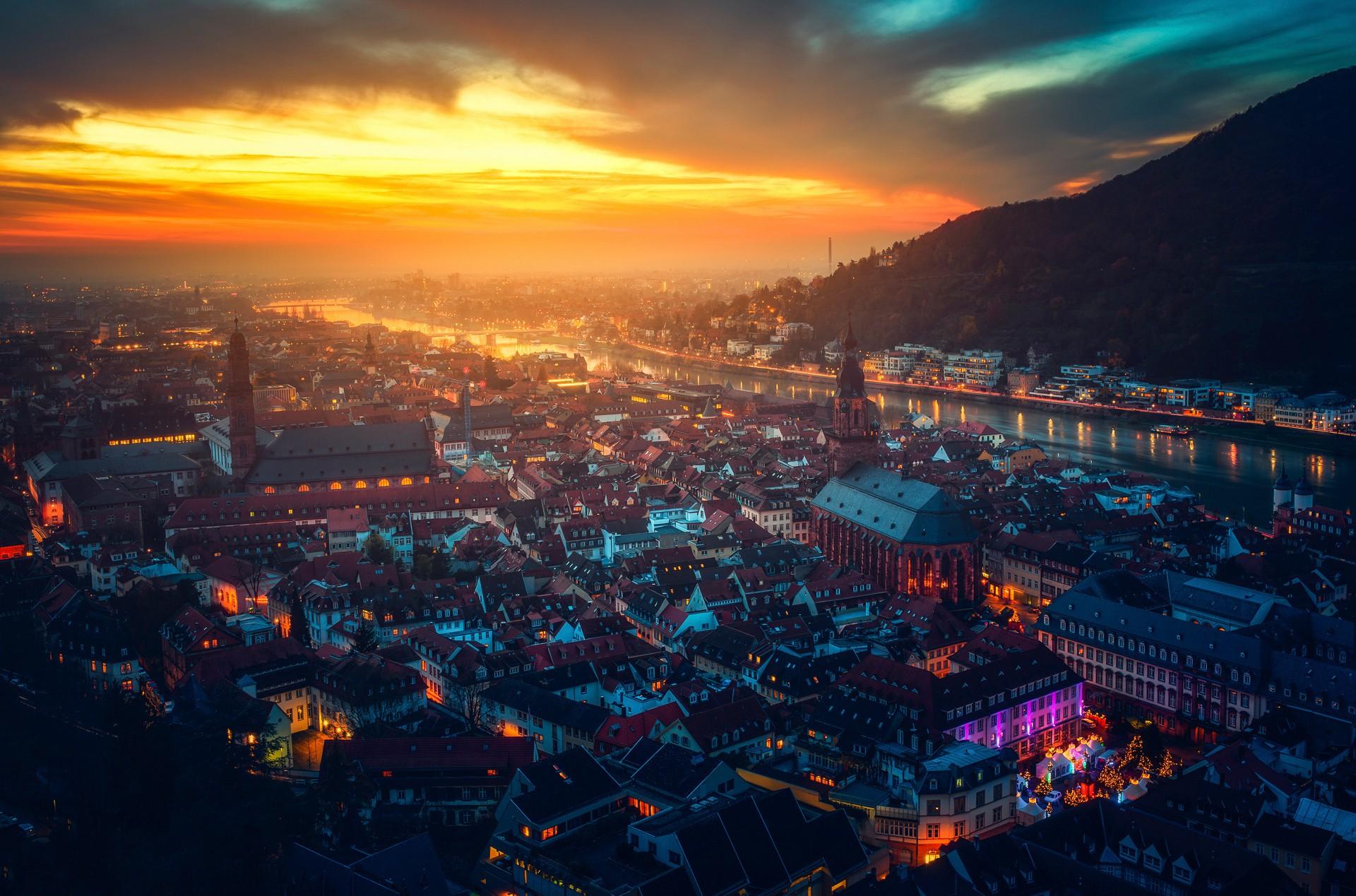 General 1920x1269 cityscape river castle mountains sunlight Germany Heidelberg city sunset