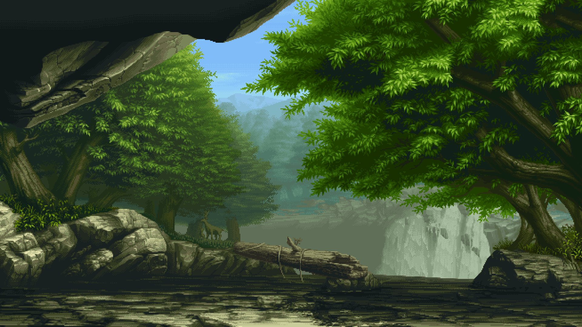 General 1920x1080 pixelated pixel art forest trees nature