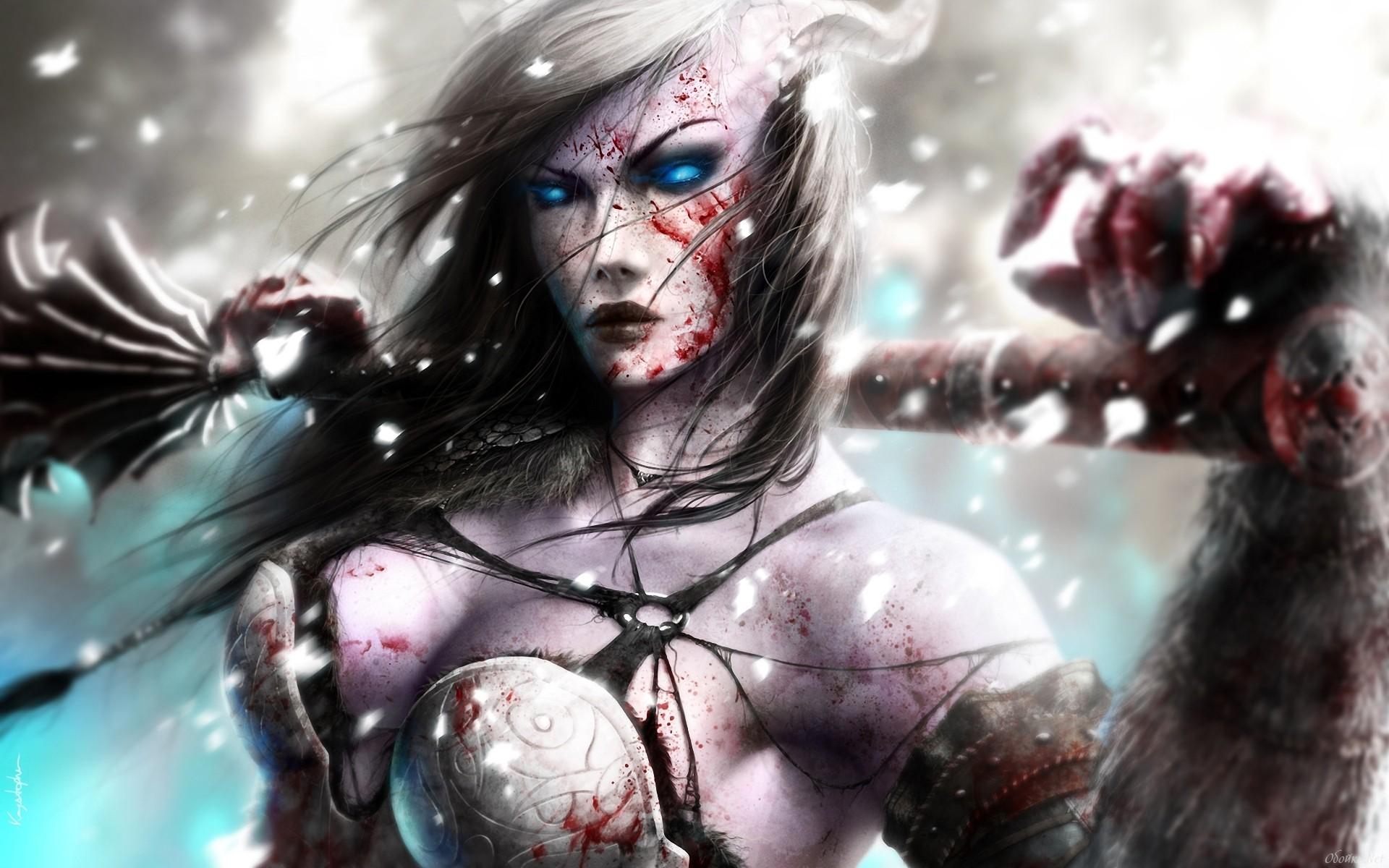 General 1920x1200 women fantasy art artwork draenei World of Warcraft death knights blood glowing eyes blue eyes snow warrior